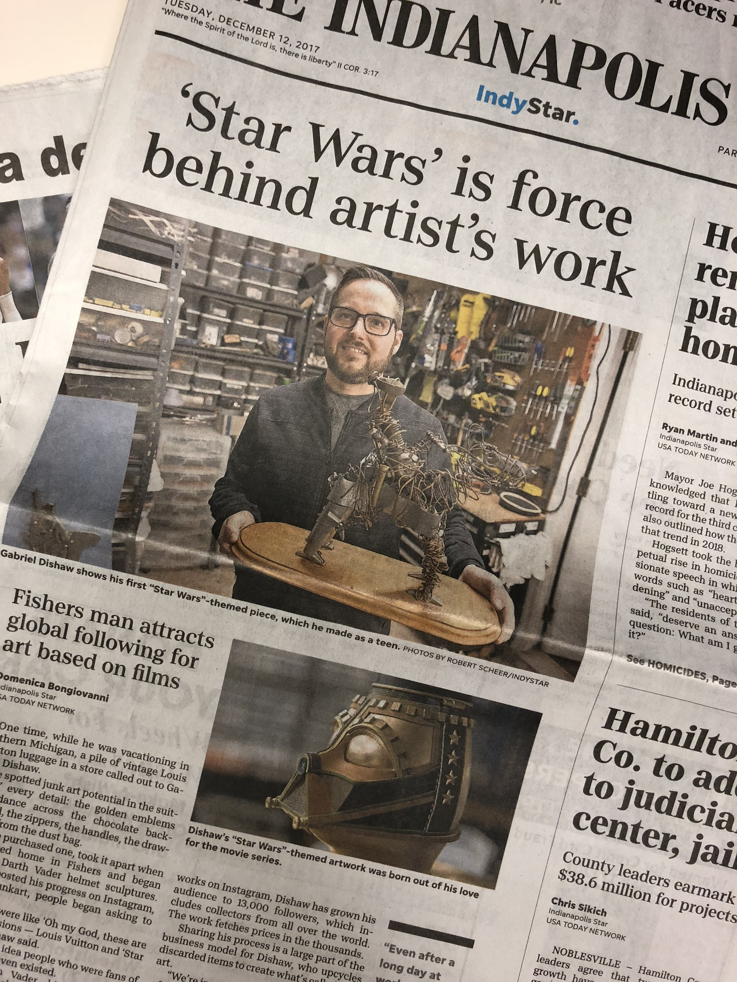 'Star Wars' is force behind artist's work - Indianapolis Star December 12th 2017 Written by Domenica Bongiovanni