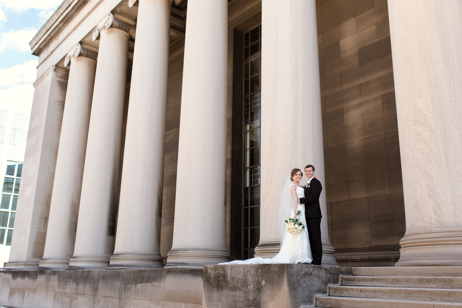Pittsburgh Bride and Groom at the Columns