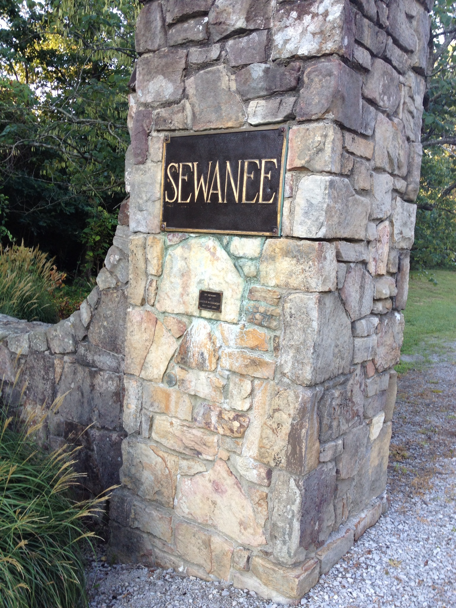 The entrance to the campus of Sewanee of the South