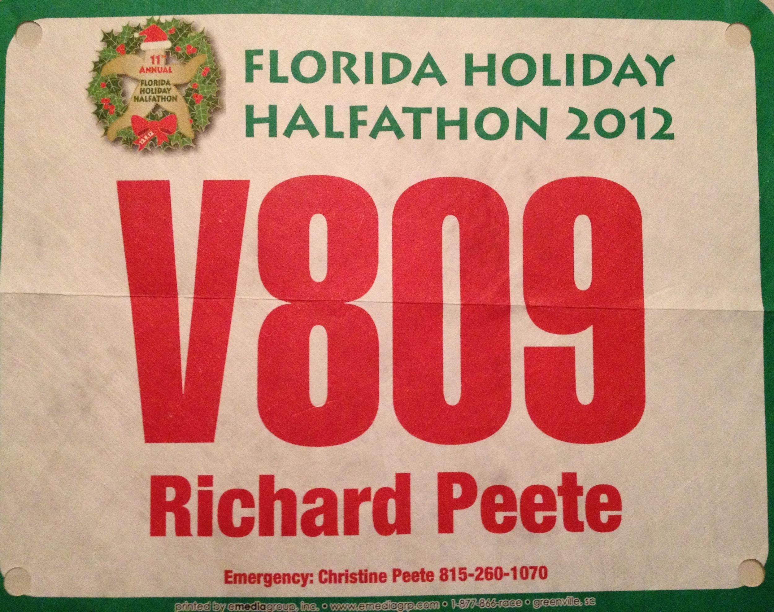 My personalized Bib for the Florida Halfathon