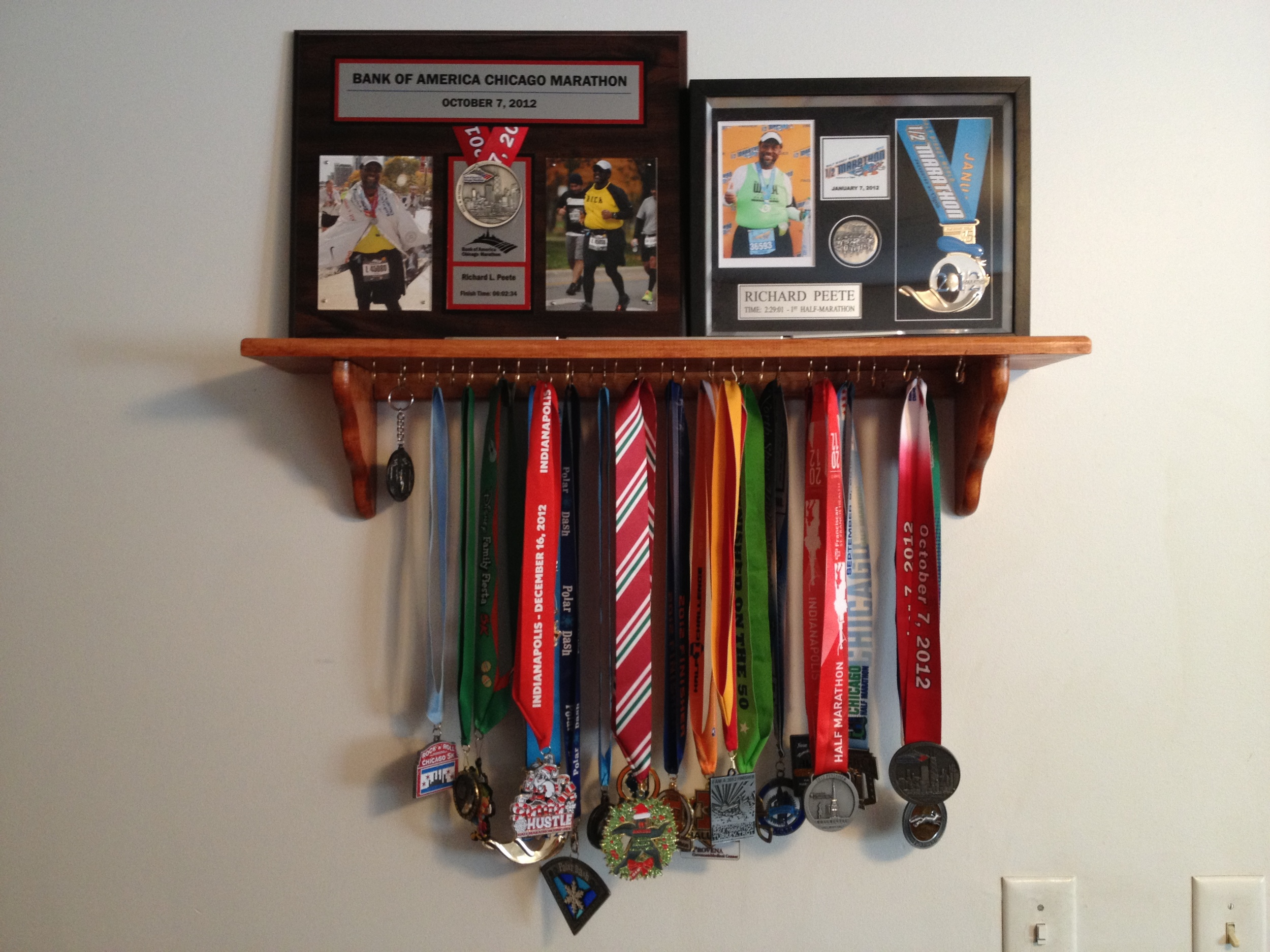 My wife made this medal rack for me as a Christmas present. It holds all my medals from 2011-2012 with room for 2013 I hope.