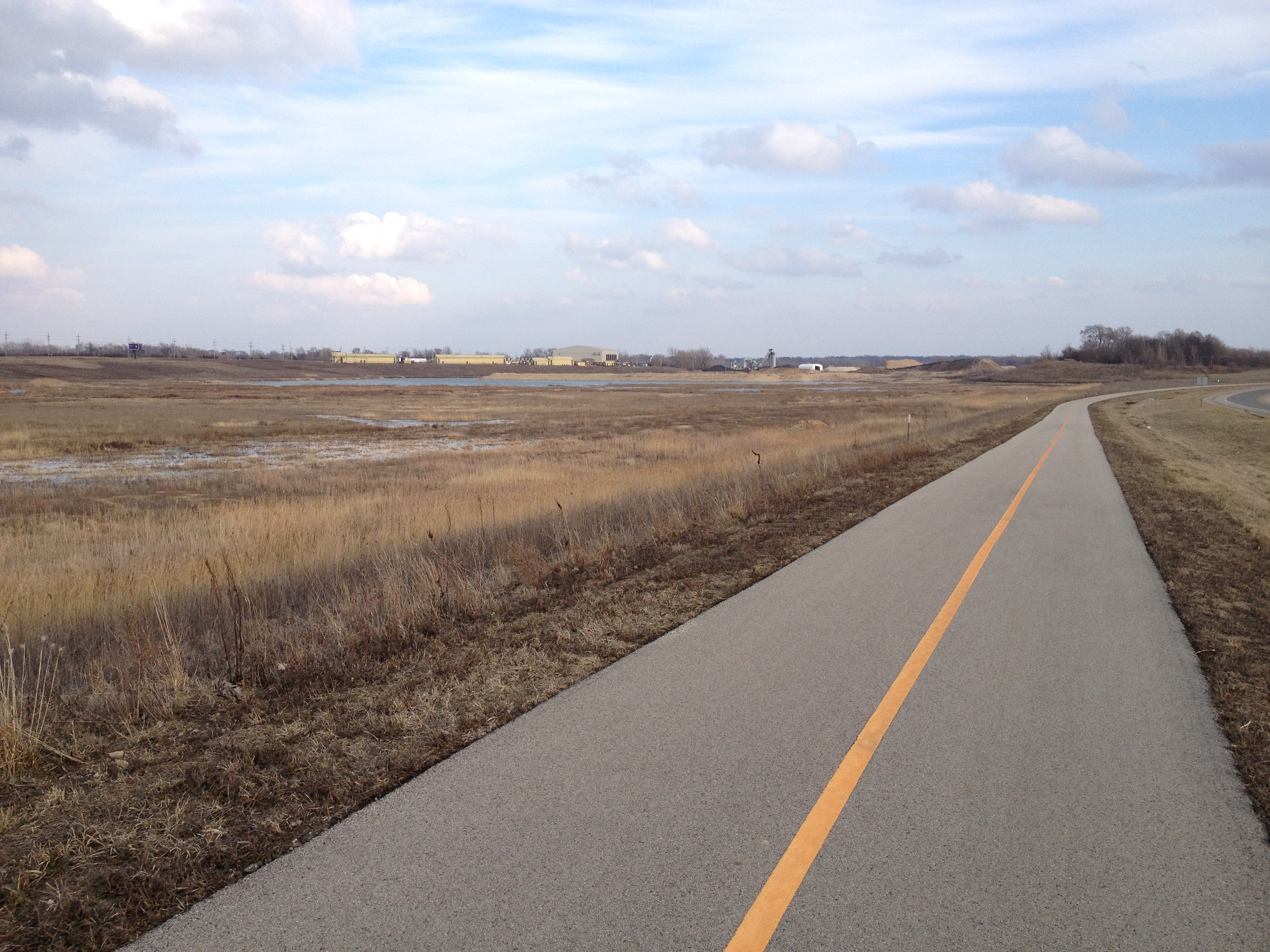 The Prairie Path with the Lake in the Hills Airport in the distance.  It was really windy here (20mph winds)