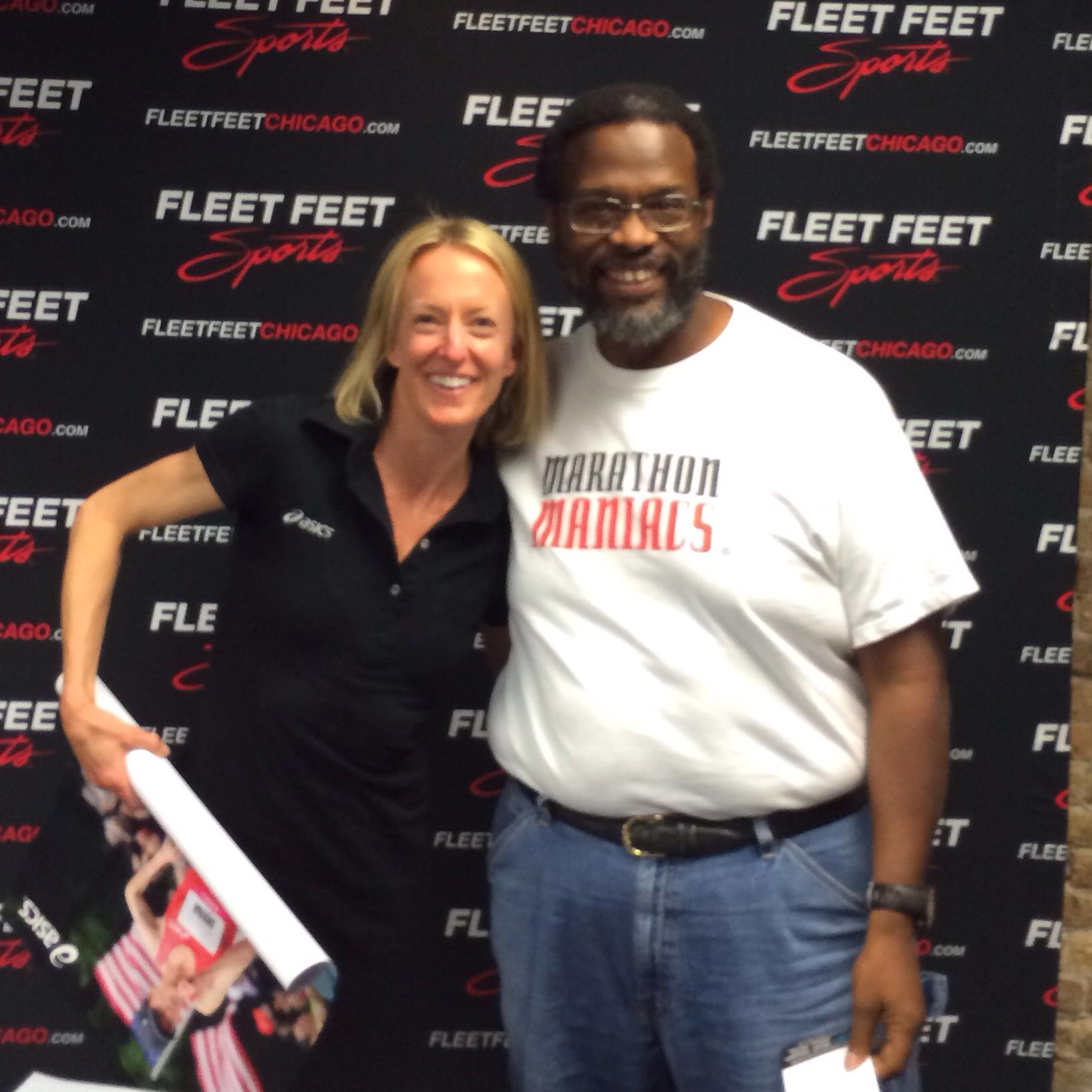 Deena Kastor and I at a meet-up in 2013