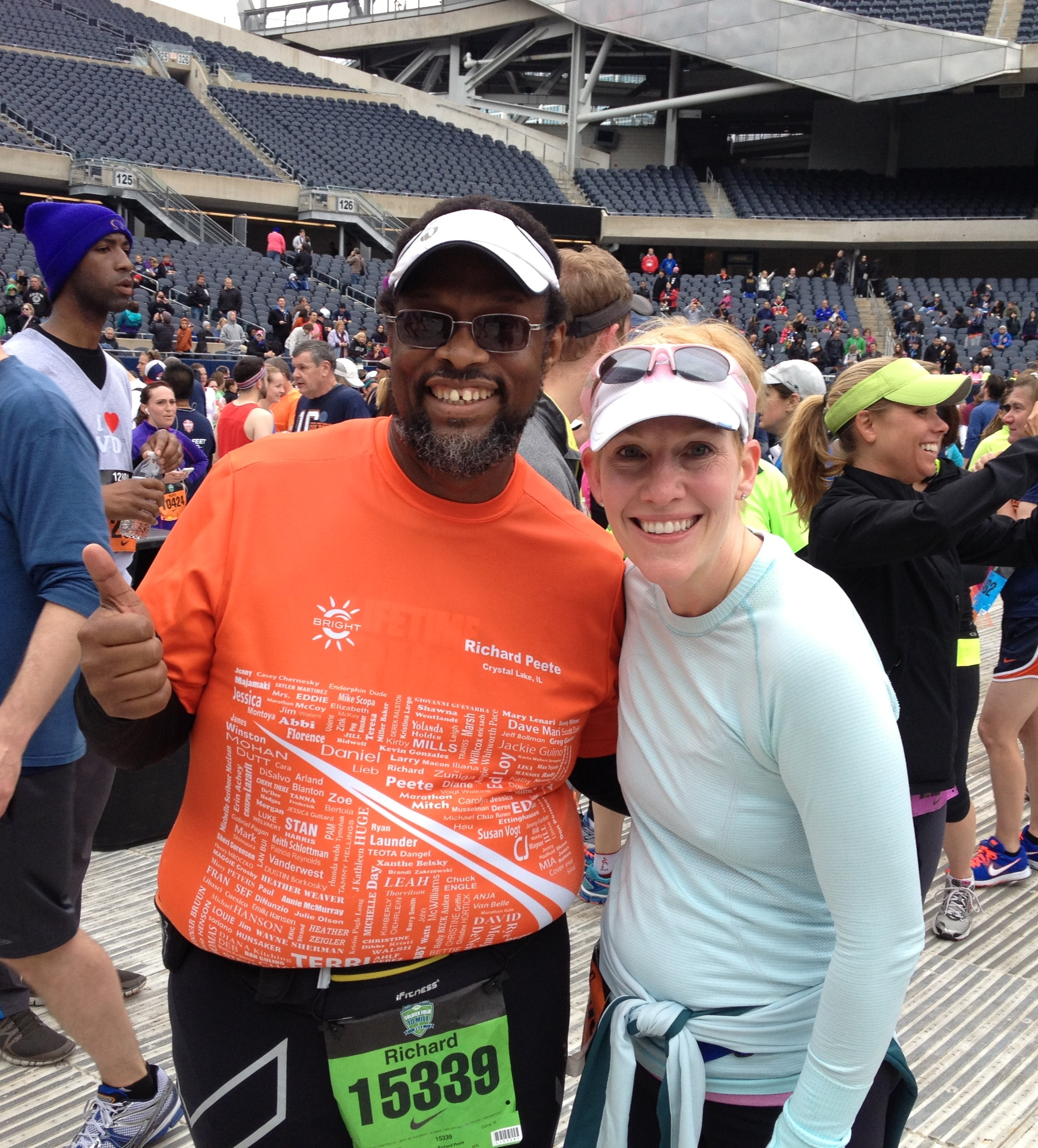 Meghan and I at the Finish of the 2013 Soldier Field 10-Miler