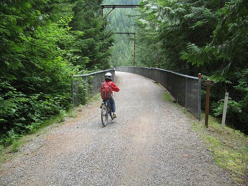Crossing Hansen Creek bridge, JWPT, Iron Horse State Park