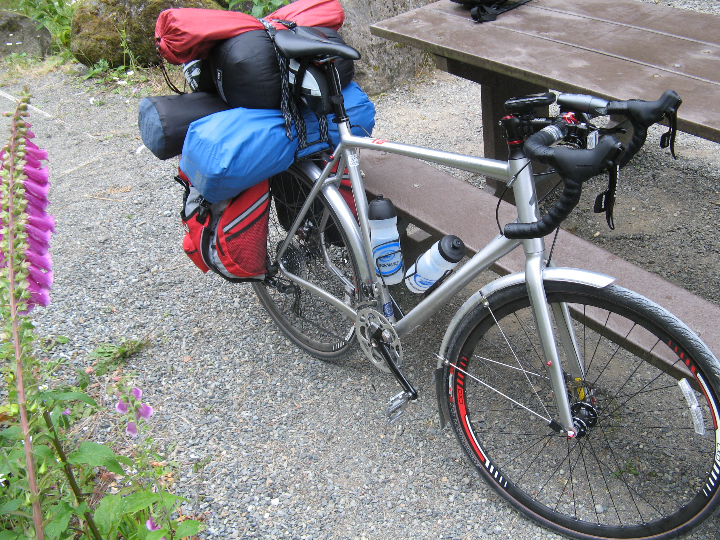 Specialized TriCross loaded down for a bike camping trip on the John Wayne Pioneer Trail, August 2011.