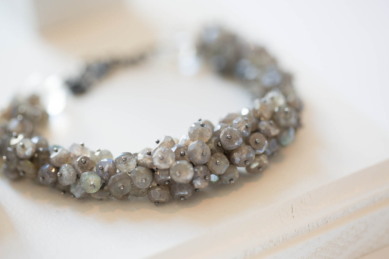 Michelle Pajak-Reynolds's Undina Collection: Luna bracelet handcrafted in labradorite, rock crystal quartz and oxidized recycled sterling silver. Photo credit: Julie Stanley/JuleImages LLC