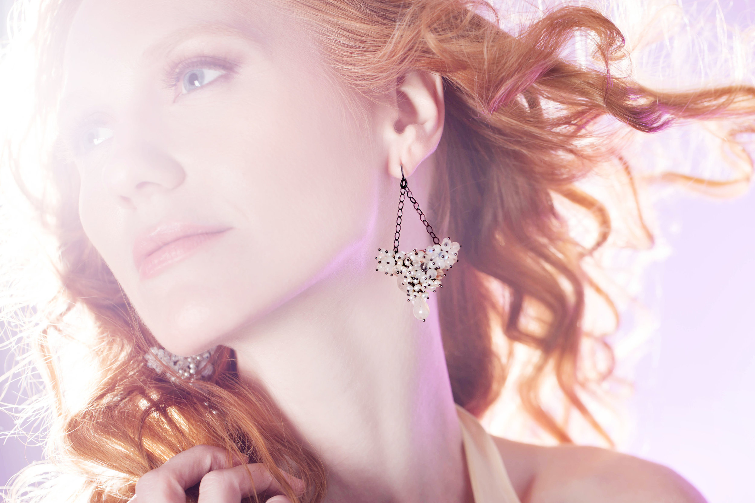 Angels & Gems editorial featuring Michelle Pajak-Reynolds Undina Collection Vanora earrings in rainbow moonstone, pearls, and oxidized recycled sterling silver. Photographer: Julie Stanley/JuleImages Model: Jeanette Thevenin Hair Stylist: Brad Lewis Make-up Artist: Rob Thoma
