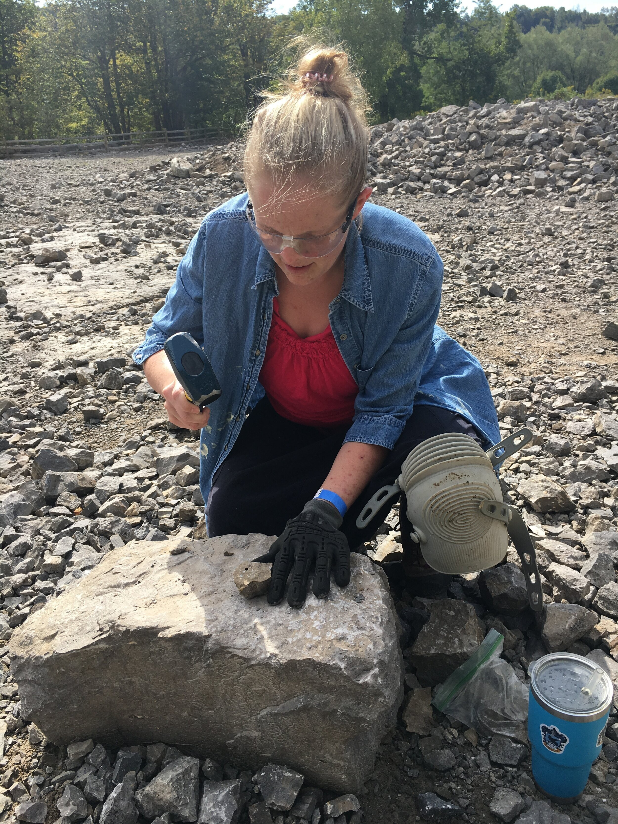 Jewelry artist Valerie Heck Esmont uses the find and break method to prospect for Herkimer Diamonds at the World-Famous Herkimer Diamond Mines in Herkimer County, New York. Photo credit: Michelle Pajak-Reynolds