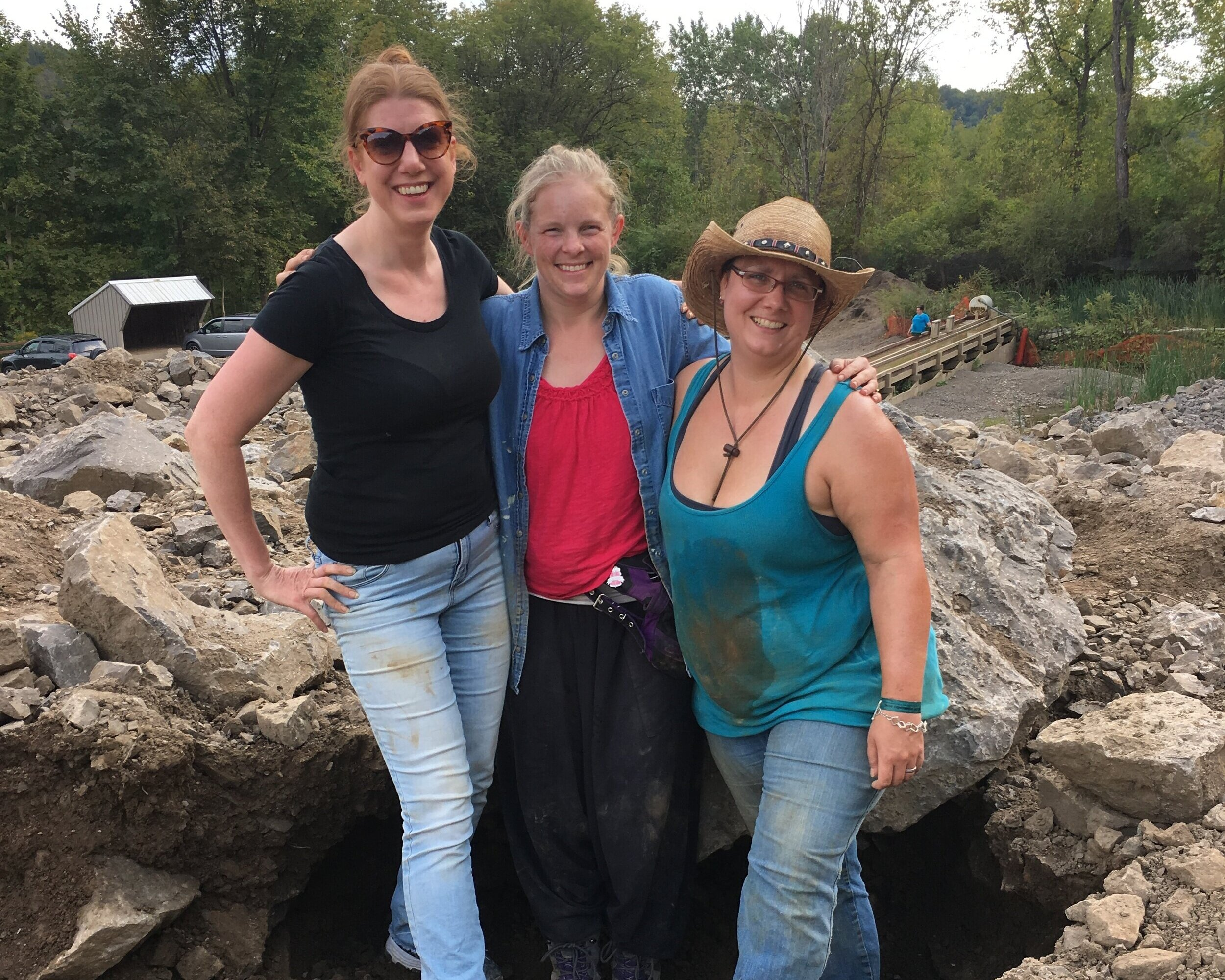 Sweaty, sunburnt, sore and smiling! Jewelry designers and friends (left to right) Michelle Pajak-Reynolds, Valerie Heck Esmont, and Trista Bonnett after 2 days of mining for Herkimer Diamonds at Ace of Diamonds Mine in Middleville, New York. Photo credit: Fellow miner at Ace of Diamonds Mine.