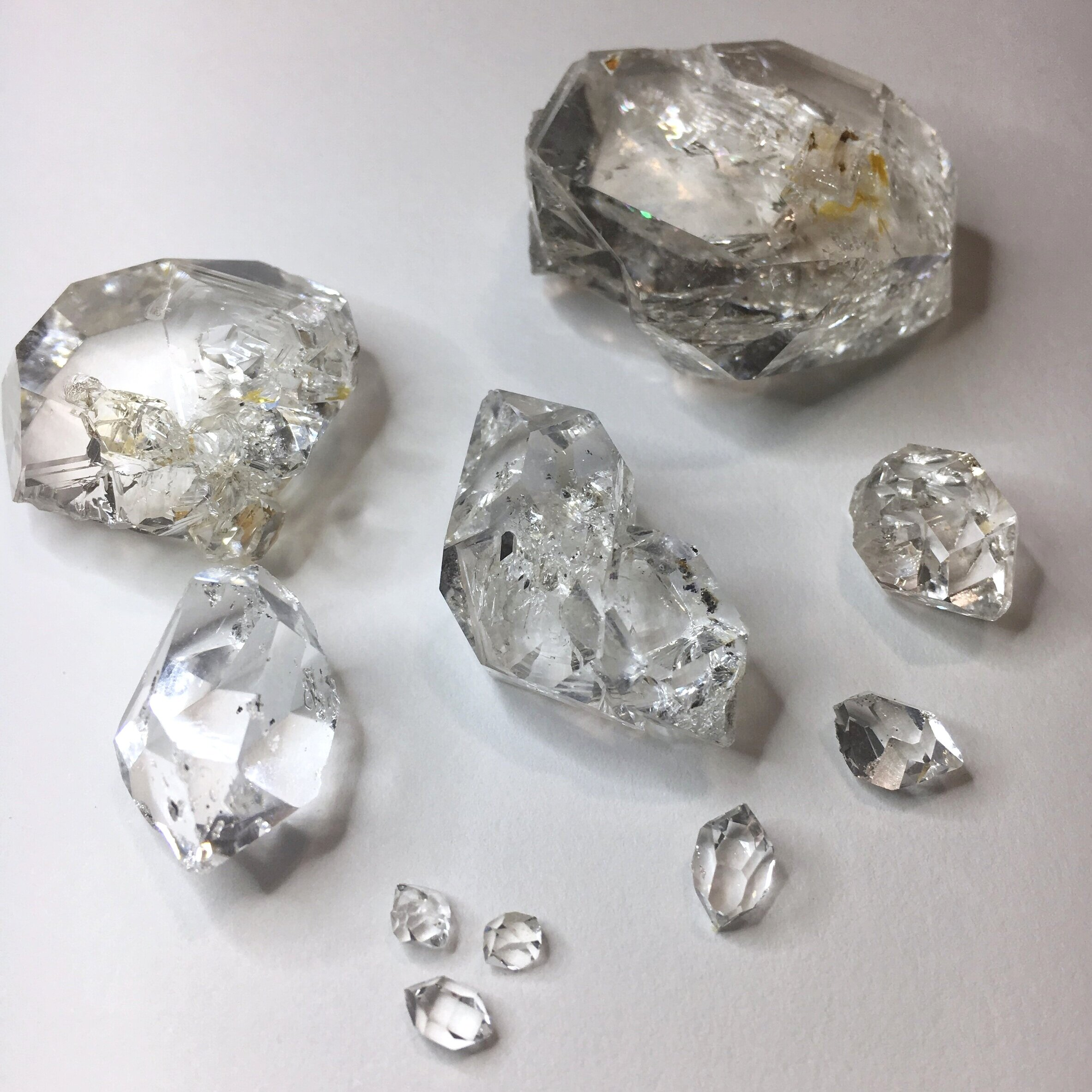 A selection of Herkimer Diamond Quartz Crystals mined by jewelry designers, Michelle Pajak-Reynolds, Valerie Heck Esmont and Trista Bonnett at the Ace of Diamonds Mine in Middleville, New York, in September 2019. Photo credit: Michelle Pajak-Reynolds