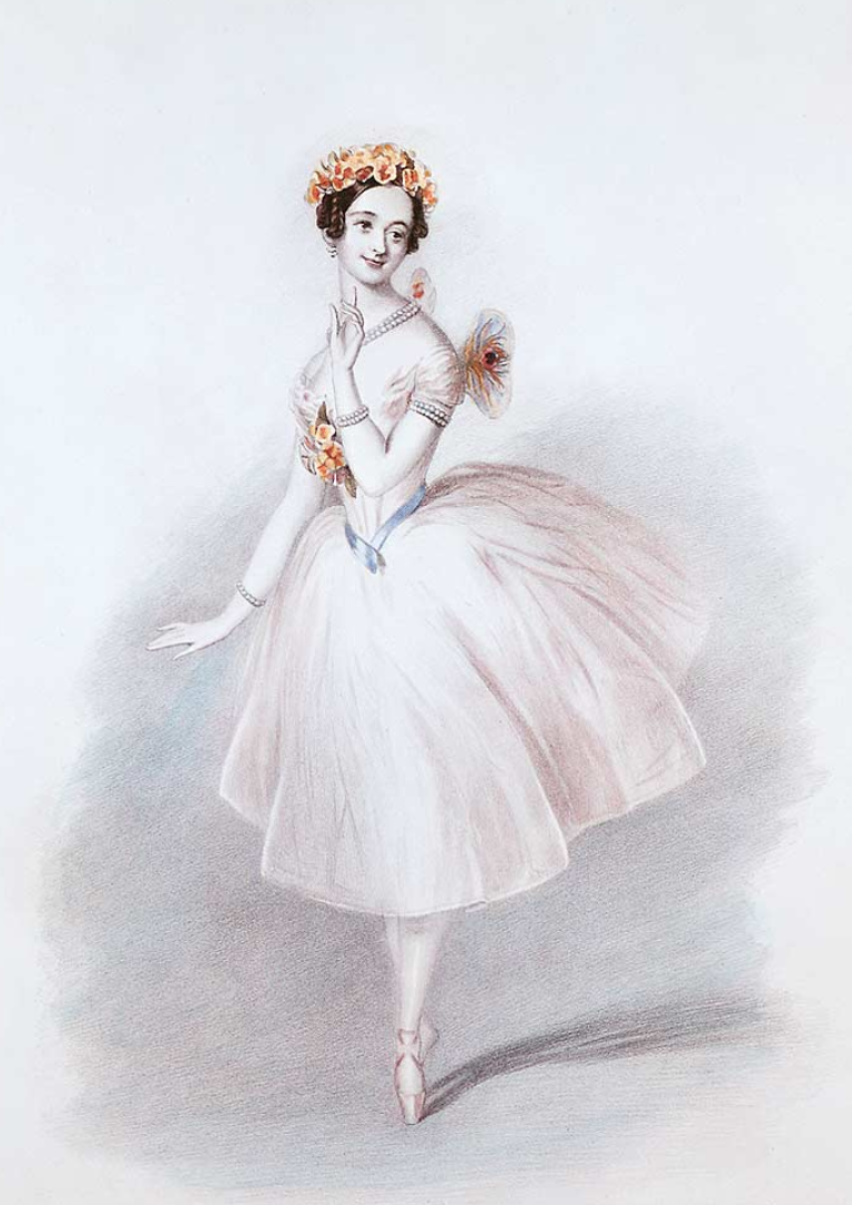 Marie Taglioni dancing the title role in La Sylphide. Her costume, including a formfitting bodice, shortened skirts, and gossamer wings is the iconic look of Romantic Period ballets. Artist unknown, Image credit Wikipedia