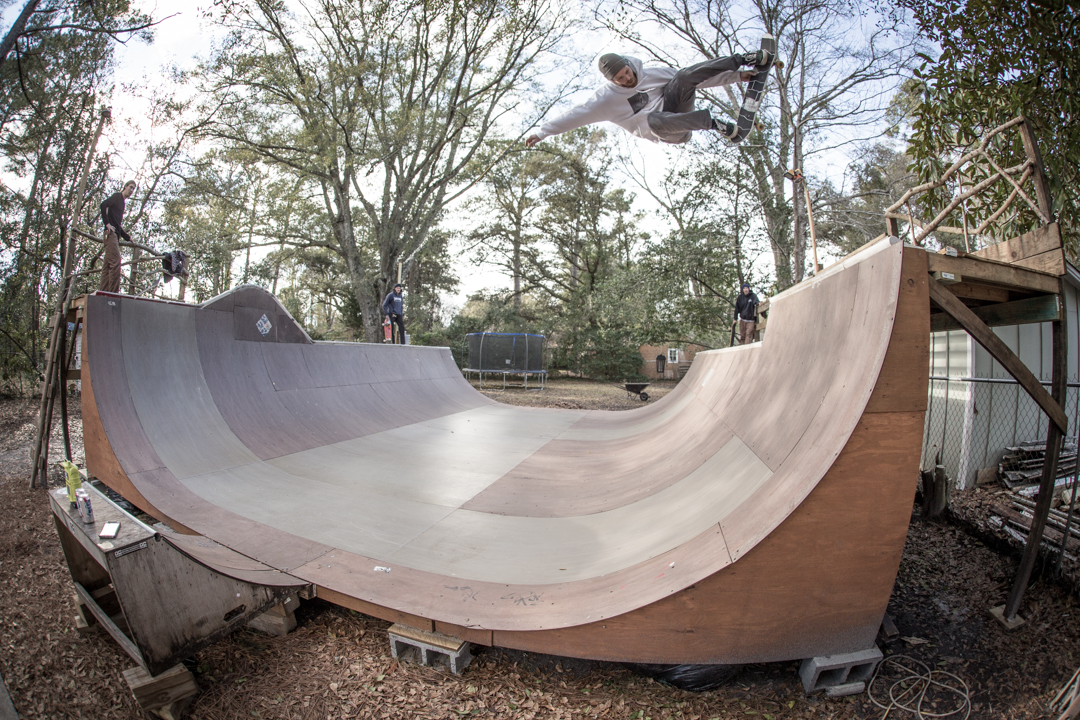 Colder weather didn't stop us from riding bikes and sessioning BJ's ramp. The owner himself sticks a melon fakie.