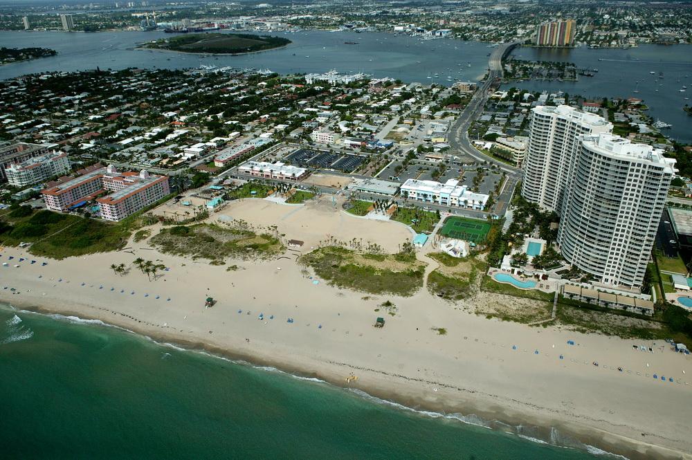 City of Riviera Beach Municipal Beach Park Ocean Mall Aerial During Construction Blue Heron Bridge Peanut Island.JPG