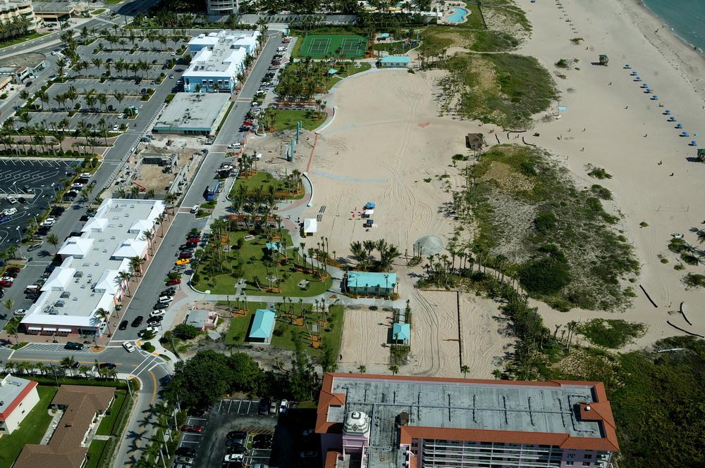 City of Riviera Beach Municipal Beach Park Ocean Mall Aerail during construction Volley Ball Courts .JPG