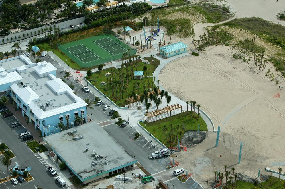 City of Riviera Beach Municipal Beach Park Ocean Mall Aerial Trellis Shade Sail Construction.JPG