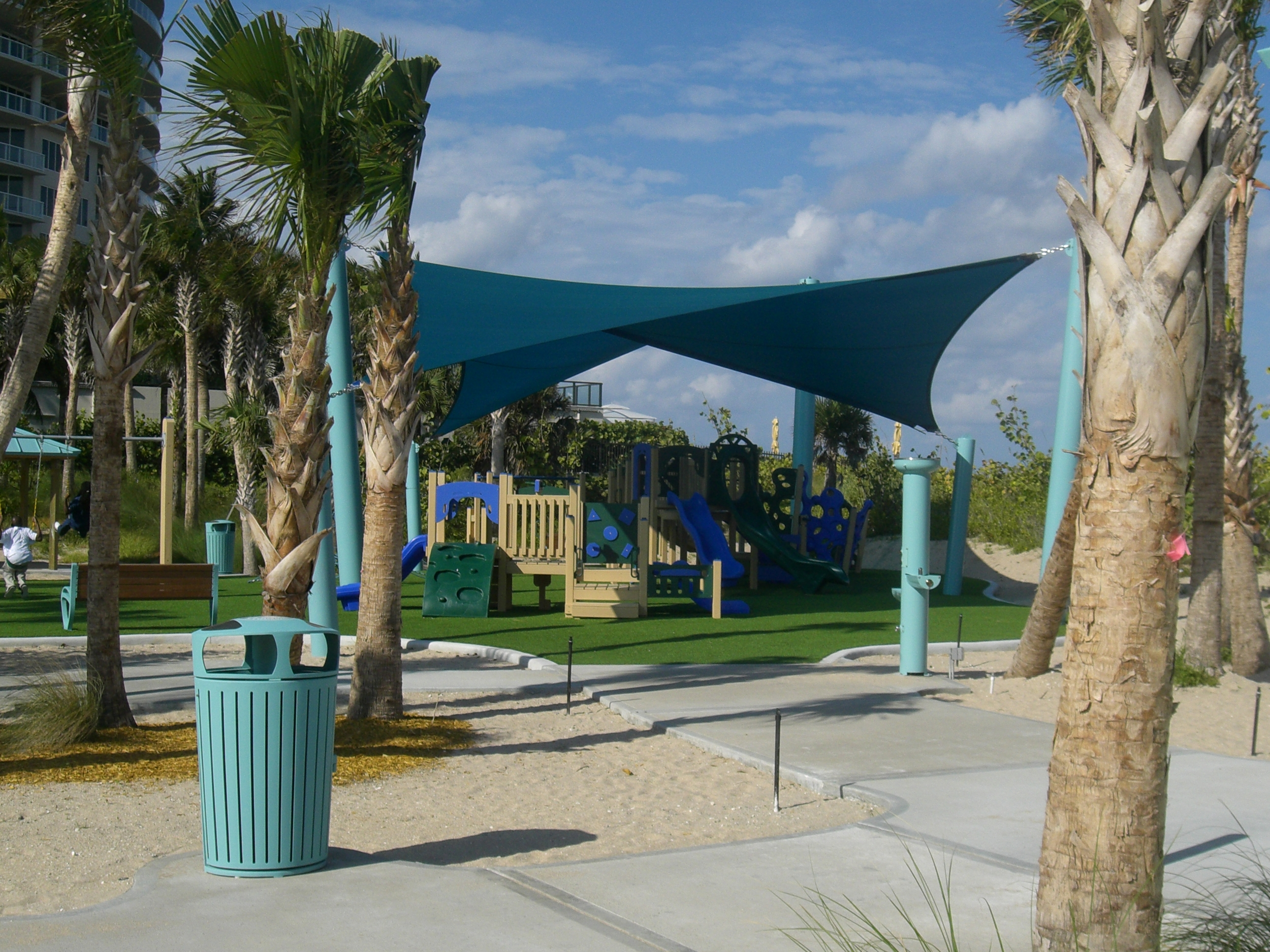 City of Riviera Beach Municipal Beach Park Ocean Mall Shade Sail over Playground.JPG