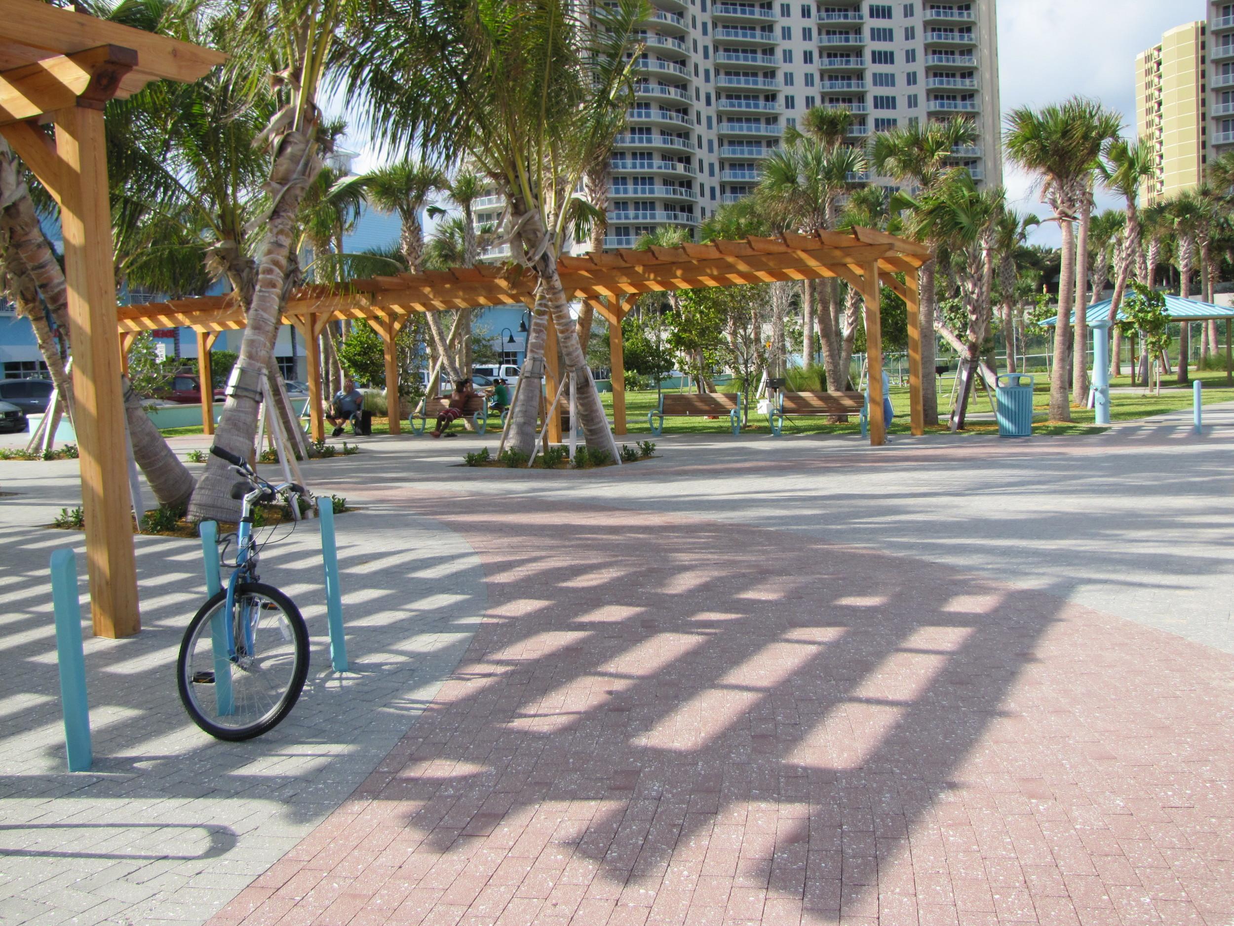 City of Riviera Beach Municipal Beach Park Ocean Mall Trellis and Bike Colored Concrete Pavers.jpg