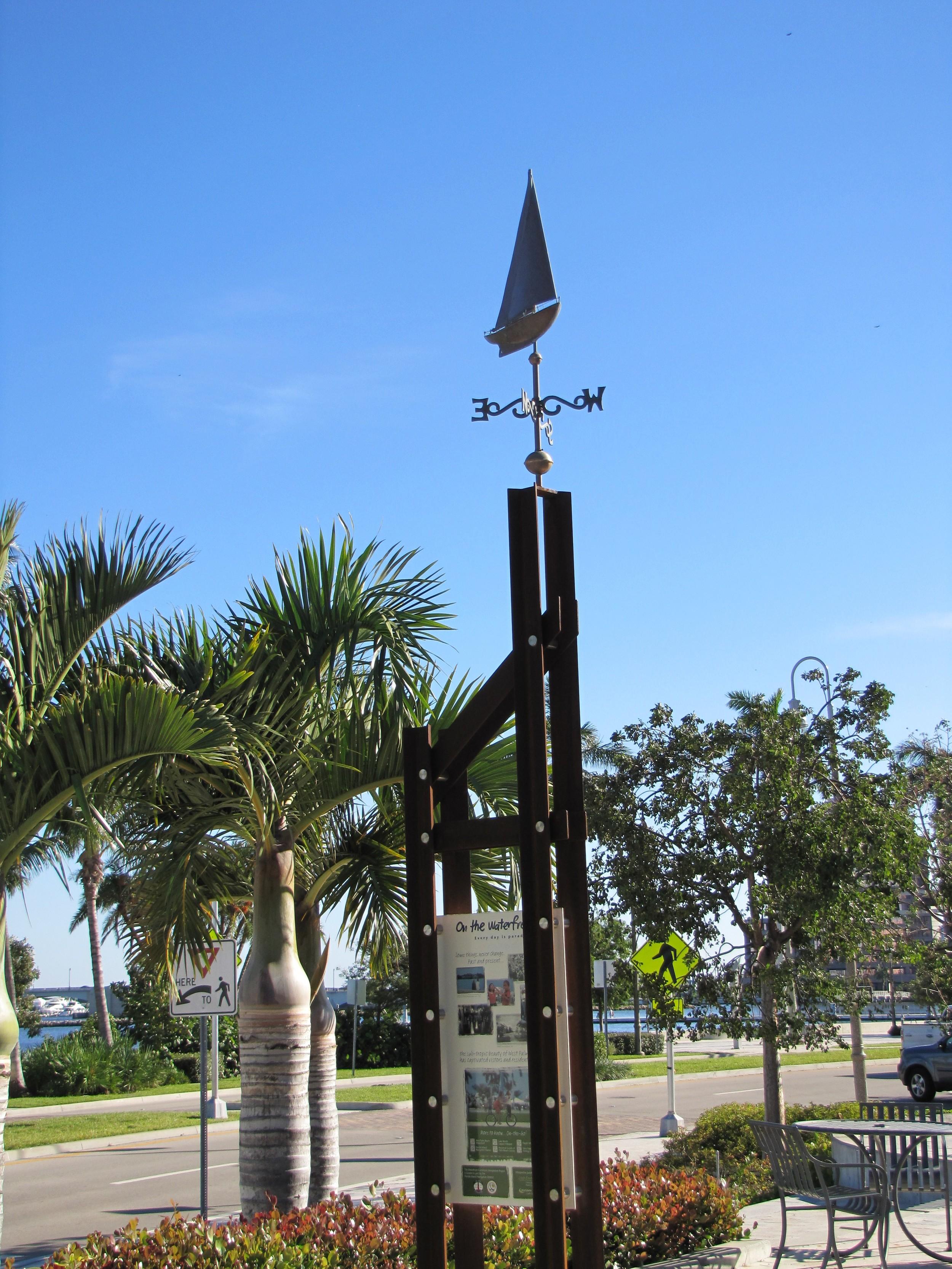West Palm Beach Waterfront Interpretive Signage Sailboat Weather Vane.JPG