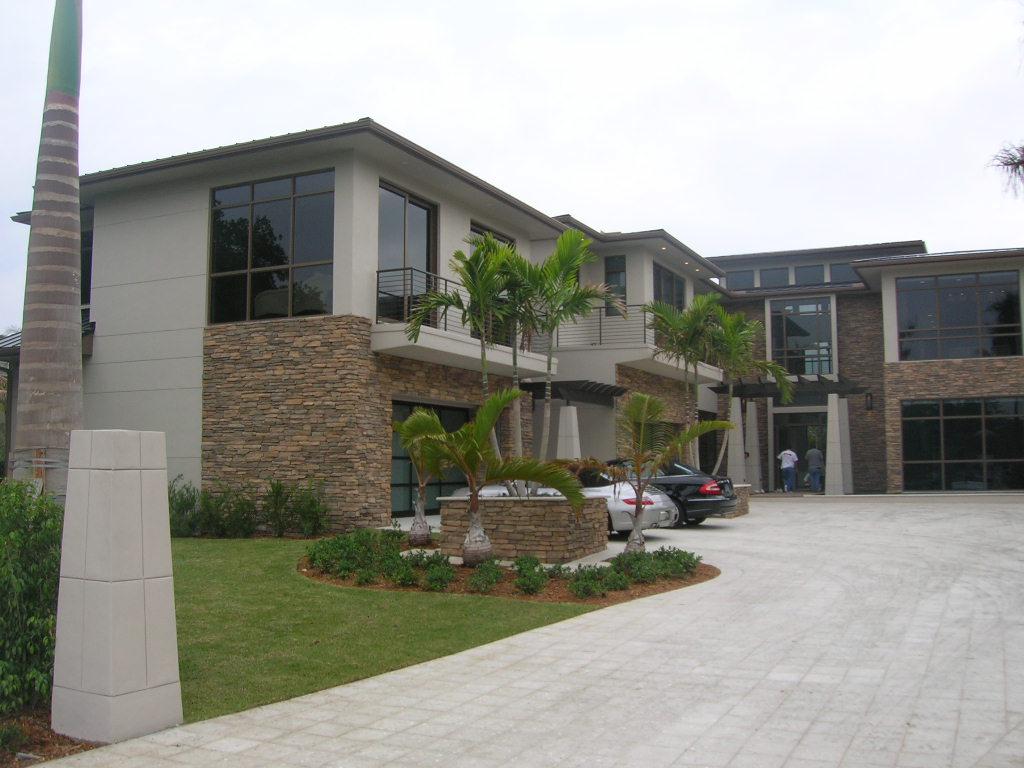 Palm Beach Gardens Intracoastal Residence Main Entry Contemporary Architecture Stone Facade.JPG