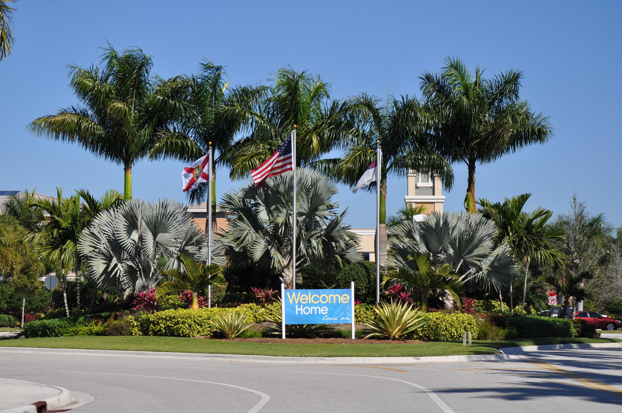 Christ Fellowship Church PBG Entry Landscaping Flag Poles.JPG
