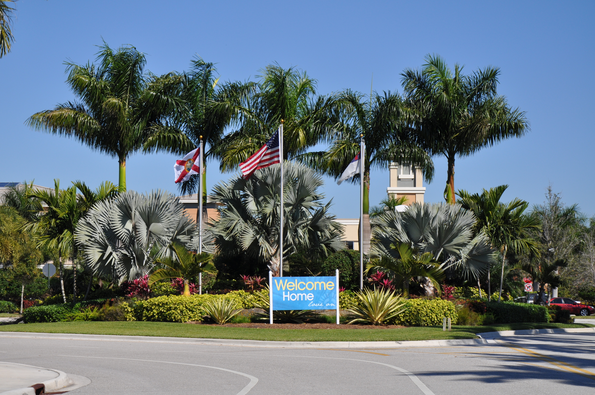 Christ Fellowship Church PBG Entry Landscaping Flag Poles.JPG