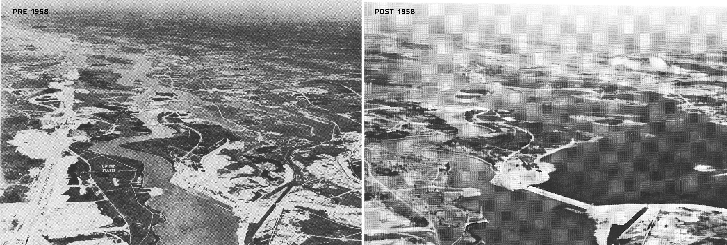 After decades of negotiation, the Moses-Saunders Power Dam began functioning in 1958 resulting in the creation of Lake St. Lawrence as part of the Saint Lawrence Seaway. As a result, nine communities were permanently submerged underwater.