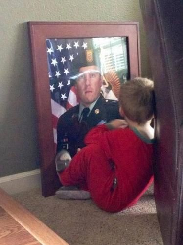 This little boy lost his dad (SFC  Benjamin Wise ) in Afghanistan on January 15, 2013.  Image Via Reddit