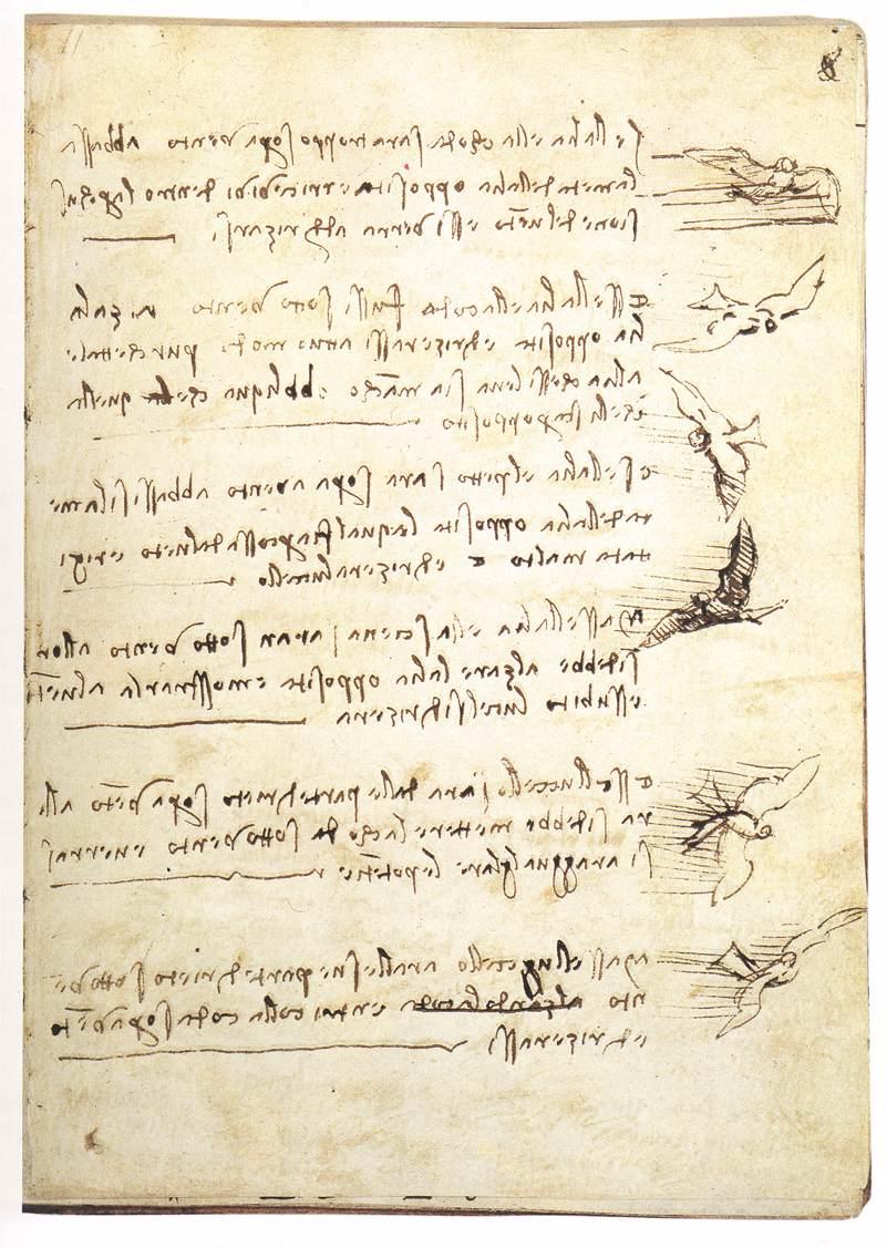 A page from Leonardo Da Vinci's a Codex on the Flight of Birds. c.a. 1505-1506