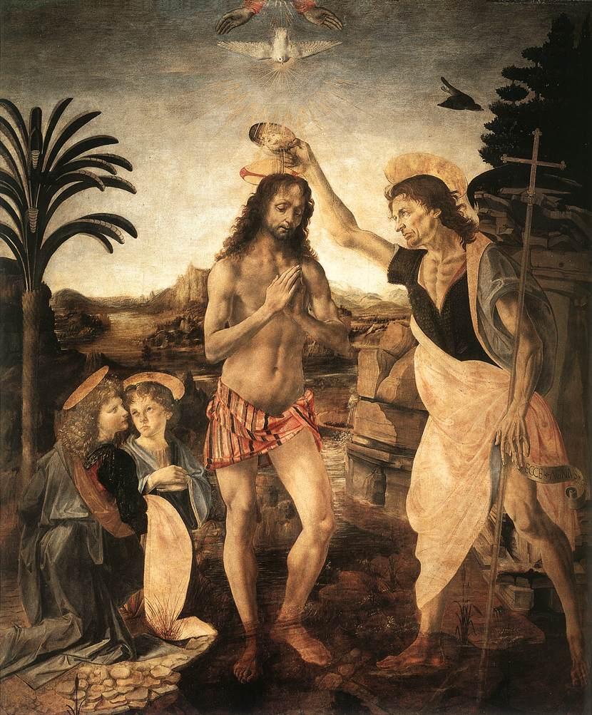 Andrea del Verrocchio and Leonardo da Vinci, Baptism of Christ, c. 1476, Uffizi Gallery, Florence