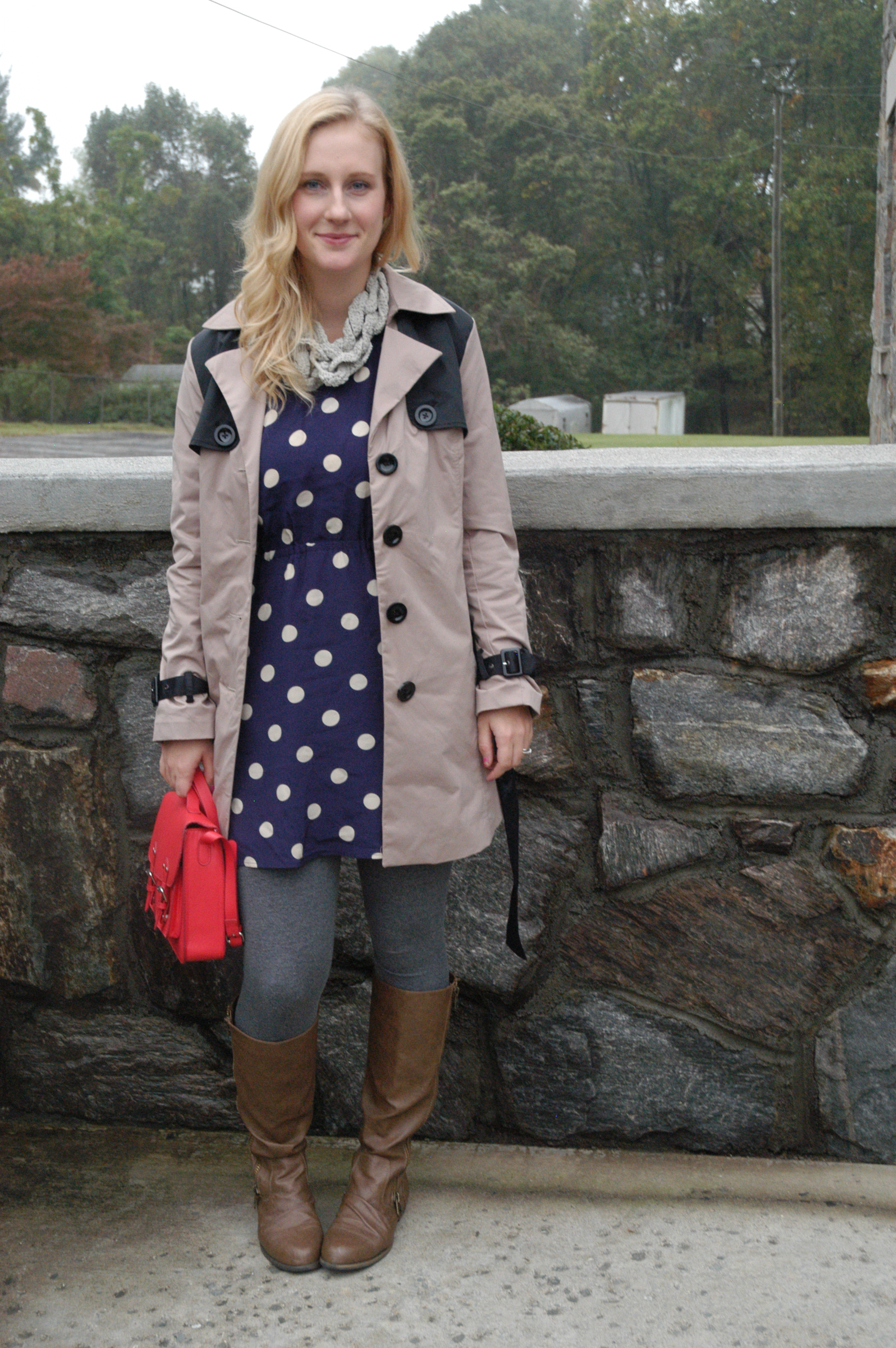Trench: Cynthia Rowley | Dress: Broadway & Broome (J.Crew) | Boots: Target | Leggings: Forever 21 | Purse: H&M | Scarf: gift from mom (thanks mom!!) Jewelry: gift, Joann Fabrics, Target