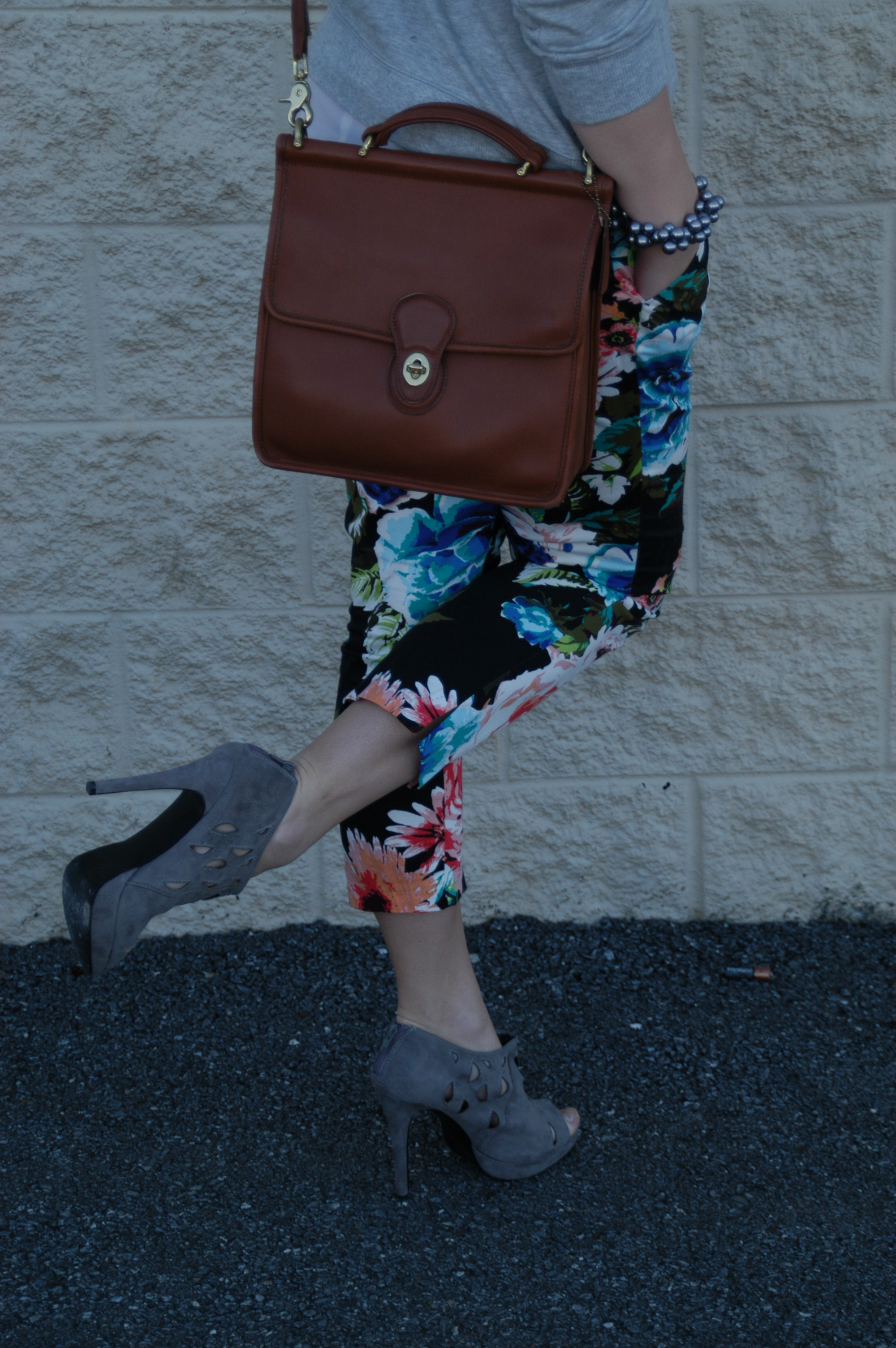 Pants: H&M | Sweatshirt: Mango | Blouse: H&M | Shoes:  Sole Society | Bag: Coach (Willis) | Bracelet: Gift | Watch: Target | Shades: H&M | Earrings:  meeleecouture  via Etsy