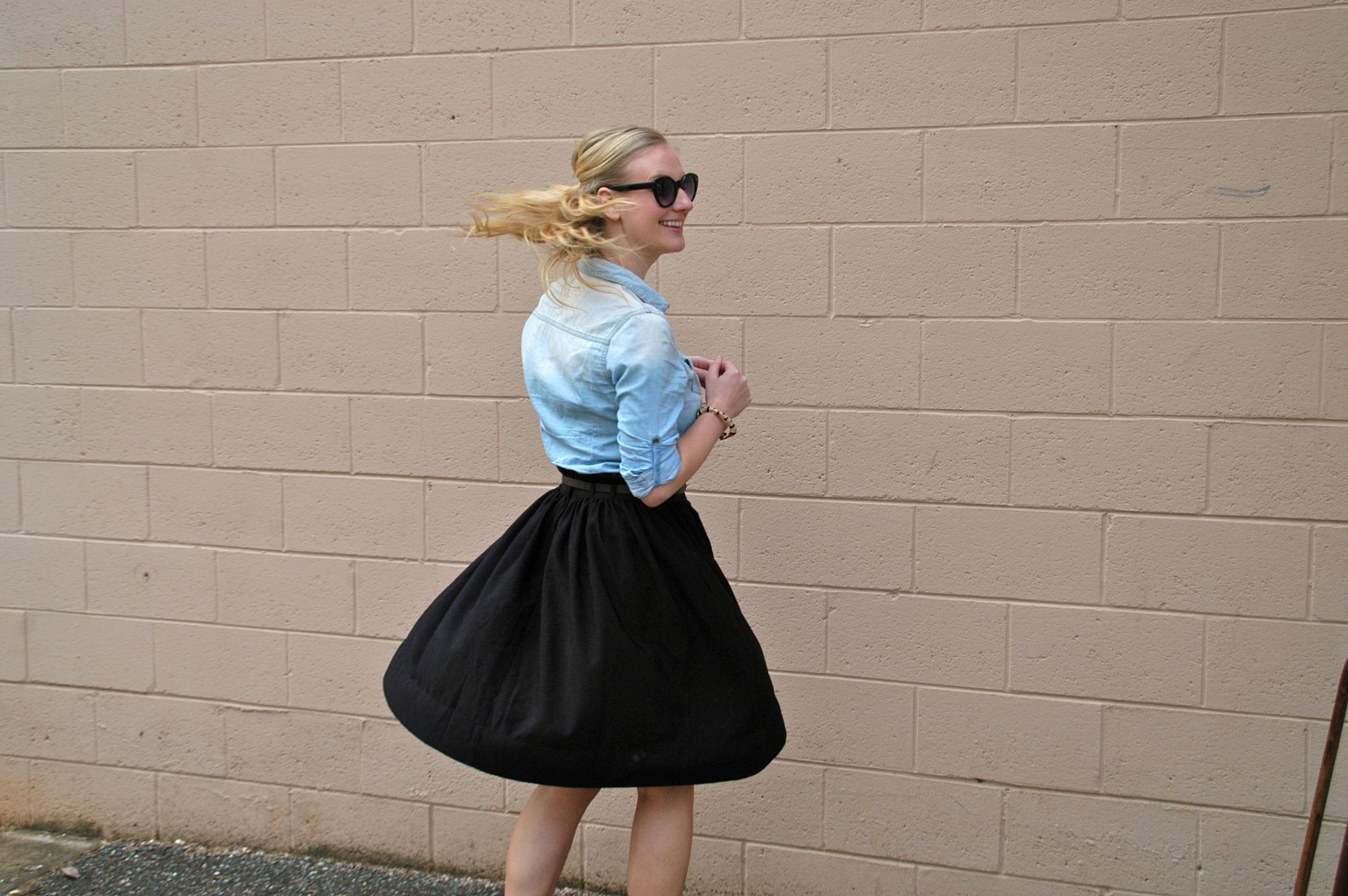 Skirt: H&M   Button-up: Target   Shoes: H&M   Purse: ShoeDazzle   Glasses: Target   Jewelry: Vintage, H&M, Target