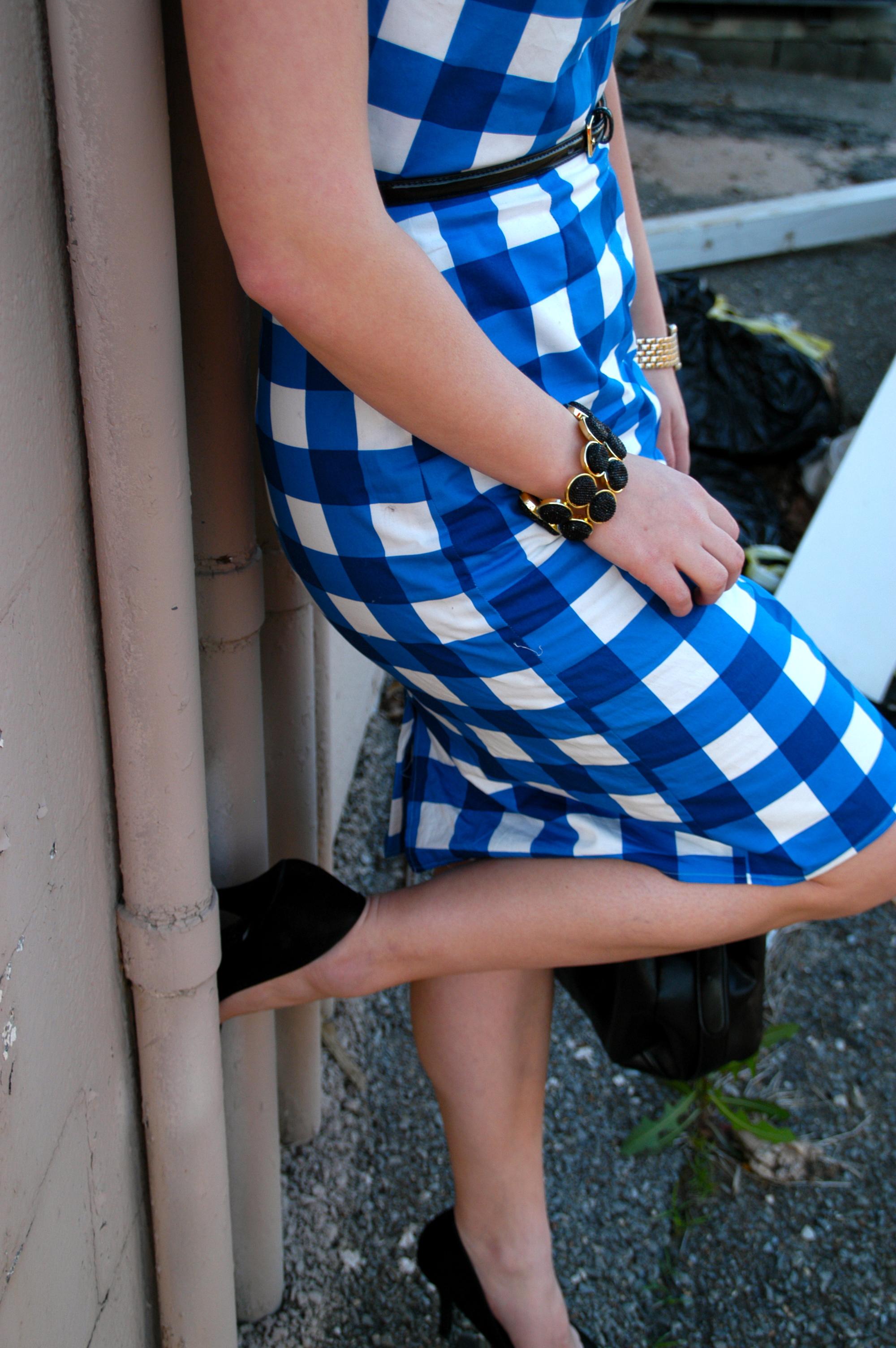 Dress: Handmade - New Look Pattern #6184 | Jacket: H&M | Shoes: Dolce Vita | Purse: Target | Belt: Target | Jewelry: Charming Charlie, Belk | Glasses: H&M