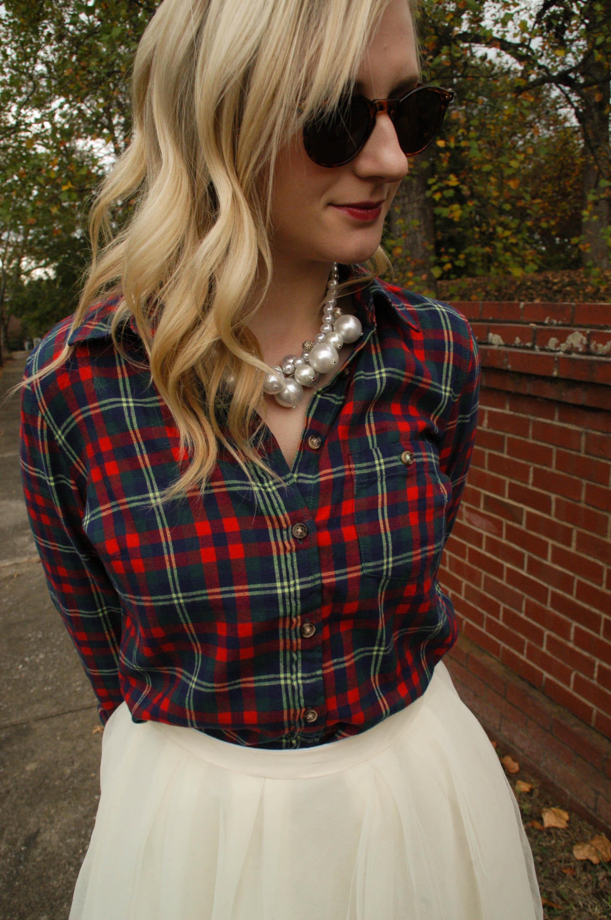 Flannel:  H&M  (L.O.G.G. brand) | Skirt: Handmade (also seen  here ) | Shoes: JCPenney (Cosmopolitan) | Bag: Coach | Necklace: Handmade | Glasses: Forever 21 (similar  here )