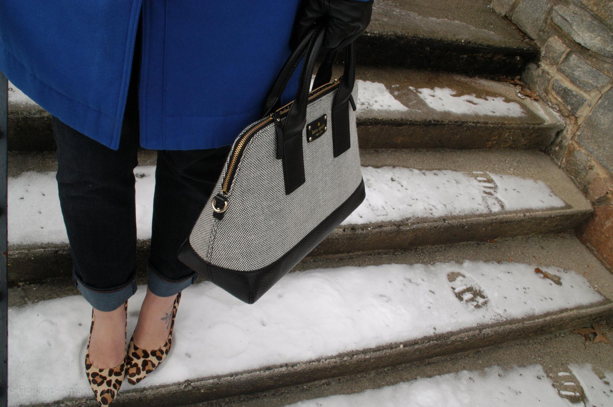 Coat: Worthington via JCPenney | Jeans:  J.Crew  | Shoes: Nicole | Bag: Kate Spade | Gloves: Target ( similar ) | Glasses:  Rayban  | Earrings: J.Crew ( similar )