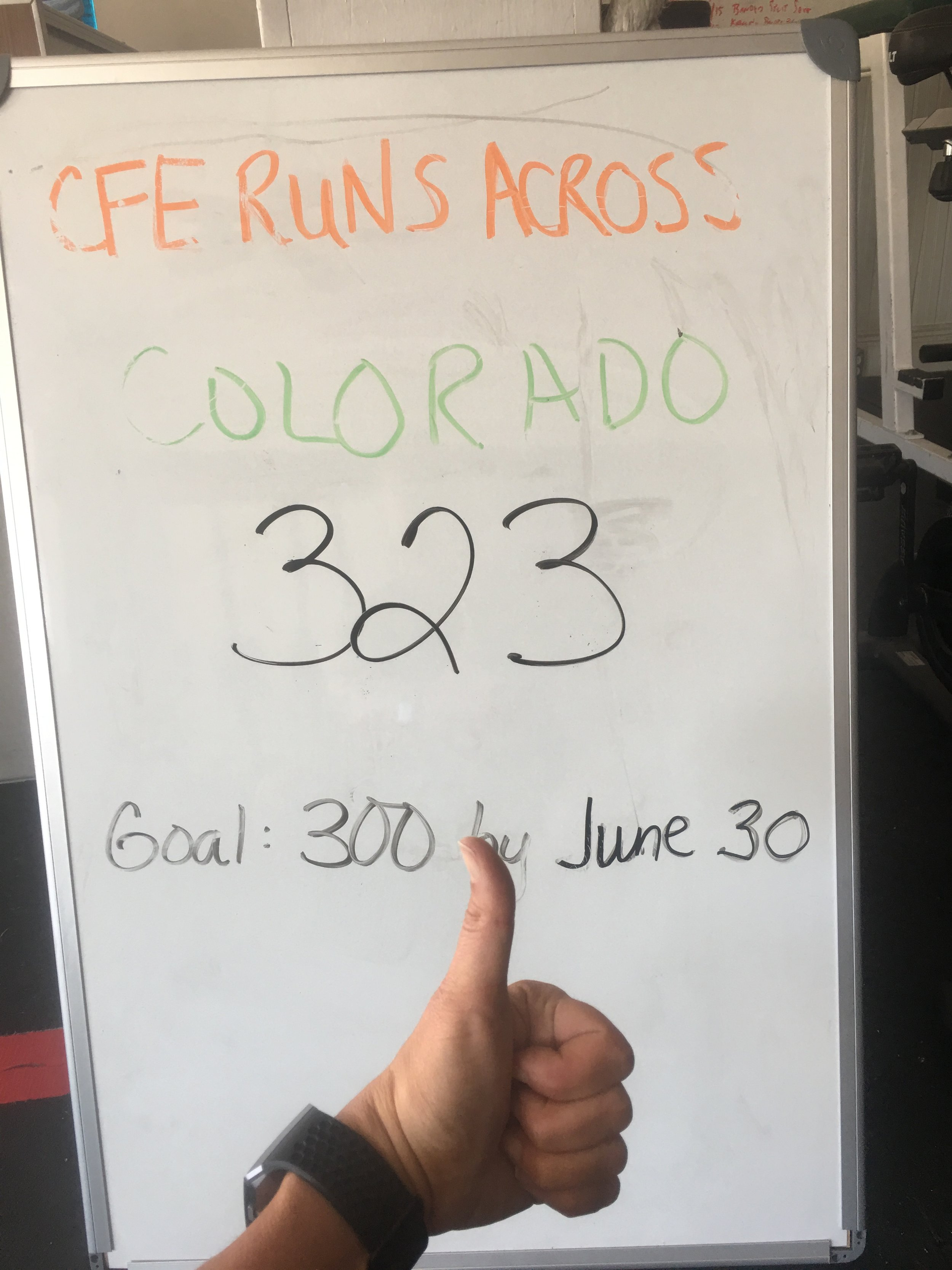 We made it! We surpassed our goal of running across Colorado! Way to go CFE!  New month=new challenge!