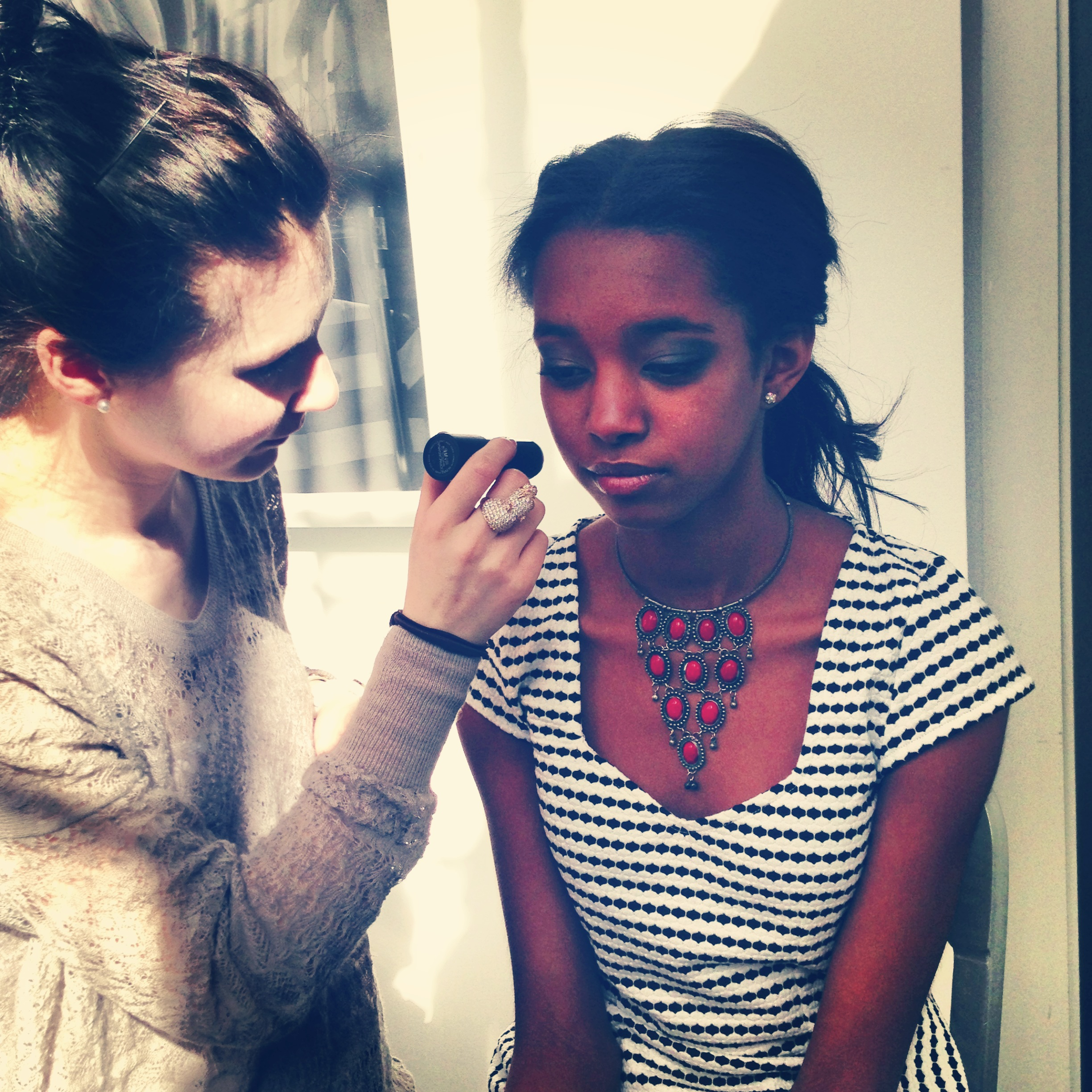 Anya working her magic at Big Studio for one of Stephen's looks