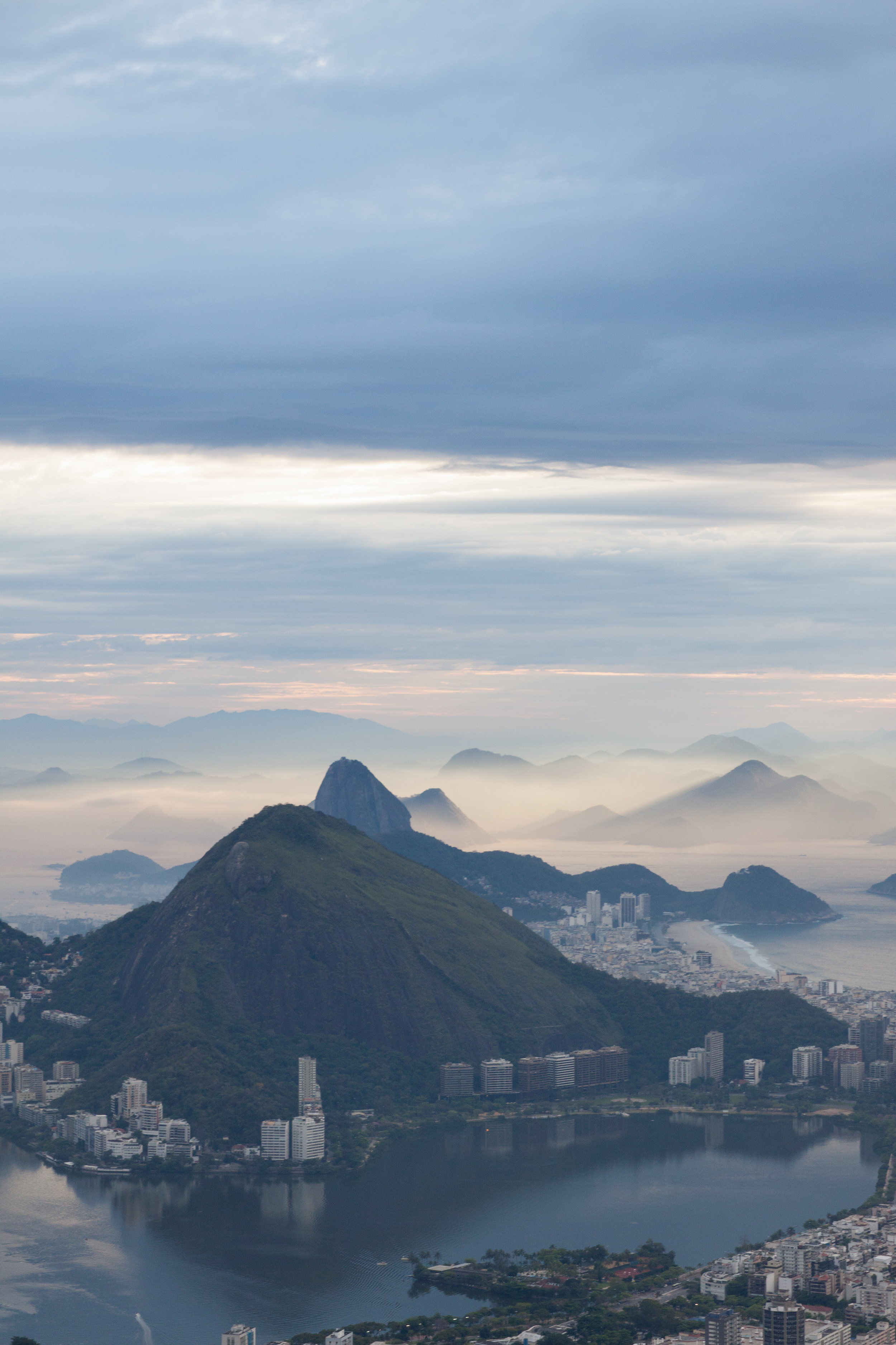 Rio de Janeiro, Brazil, landscape, travel photography, panorama, Two Brothers, Dos Irmaos, sunrise, Sugarloaf Mountain