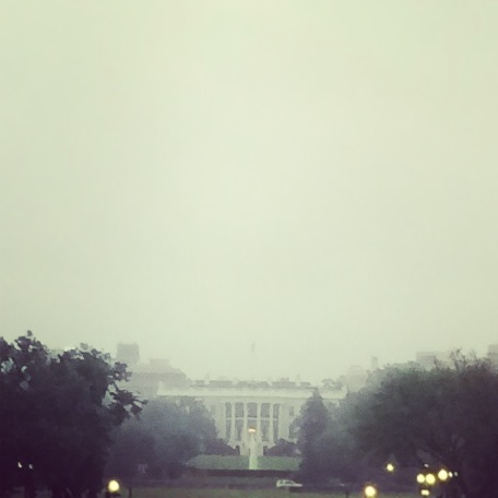 The White House through the rain took on a hazy, dream-like appearance.