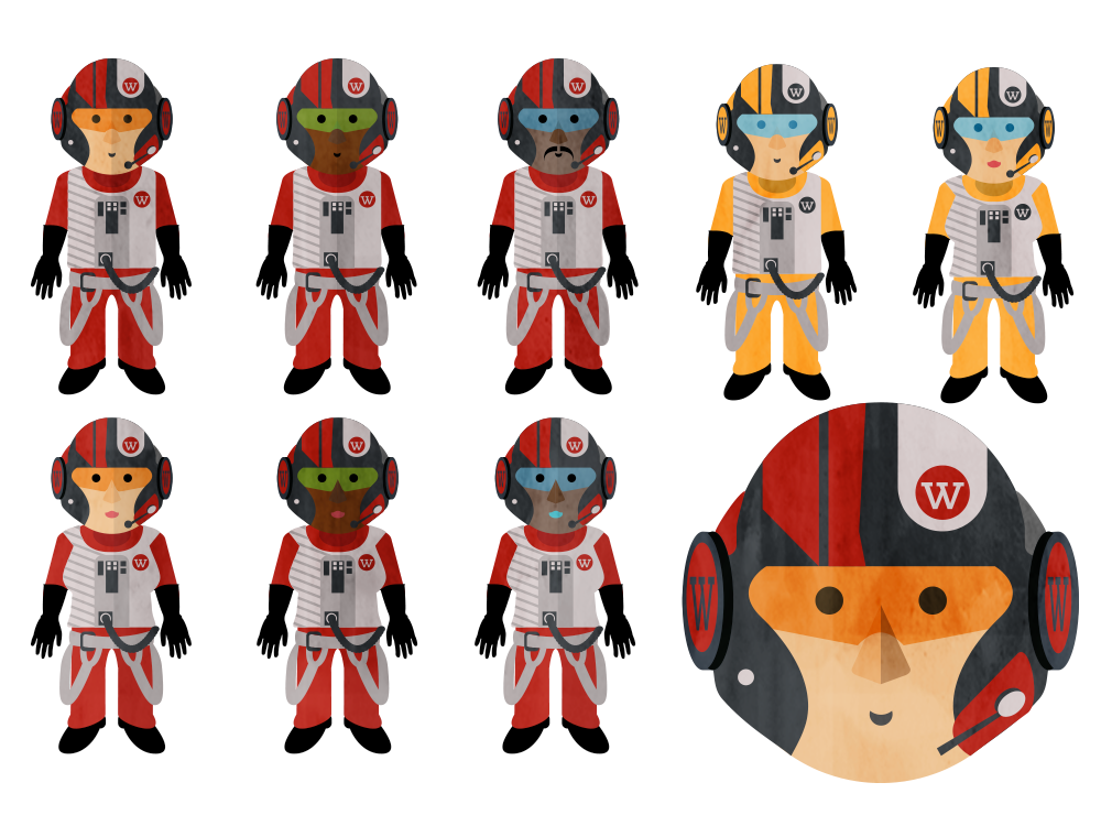 Pilot variations with Webtrends brand motif