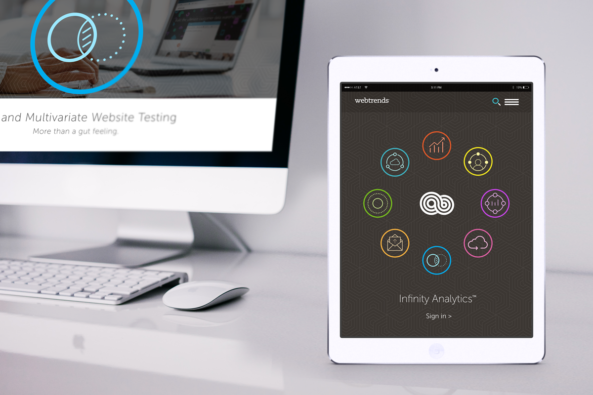 Infinity Analytics and solution navigation on mobile.