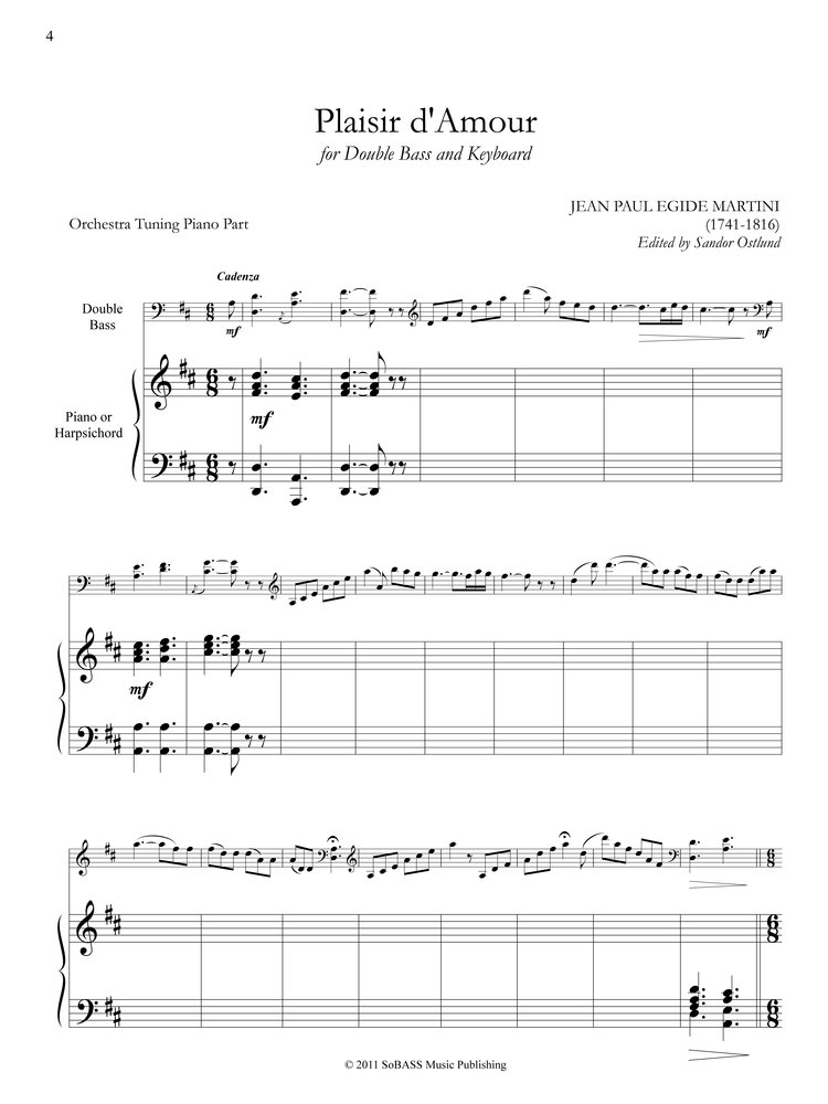 PLAISIR D'AMOUR FOR DOUBLE BASS AND KEYBOARD (PDF DOWNLOAD) | Sandor Ostlund