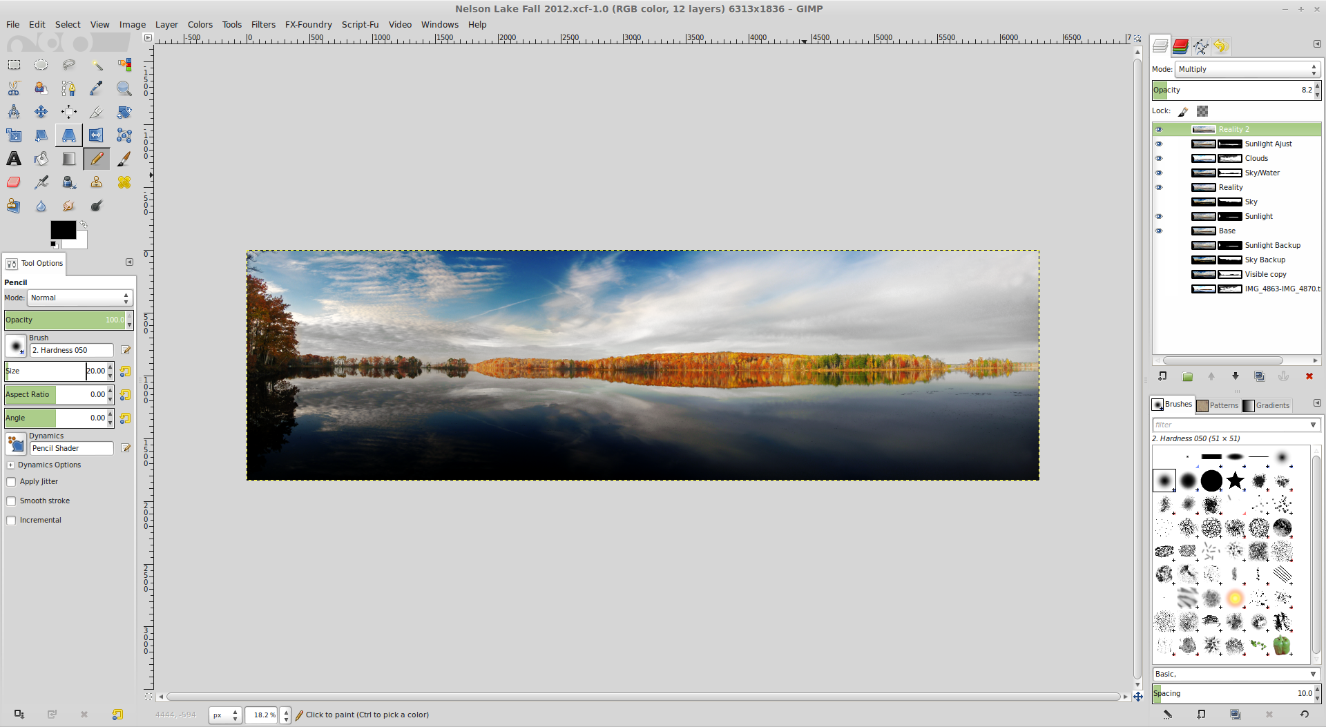 Finished edit file for the pano. All layers are labeled descriptively.
