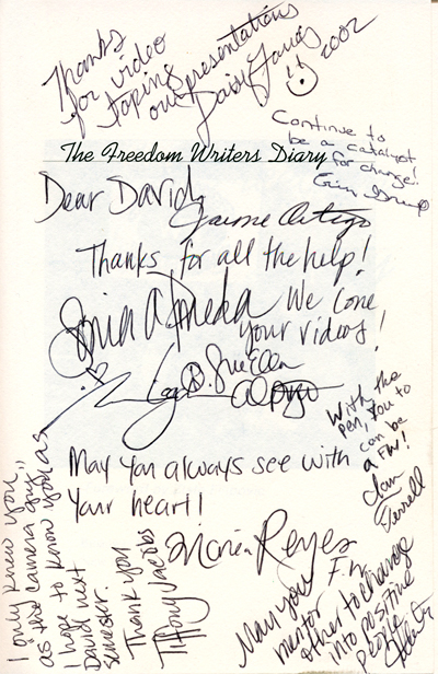 Freedom Writers autograph