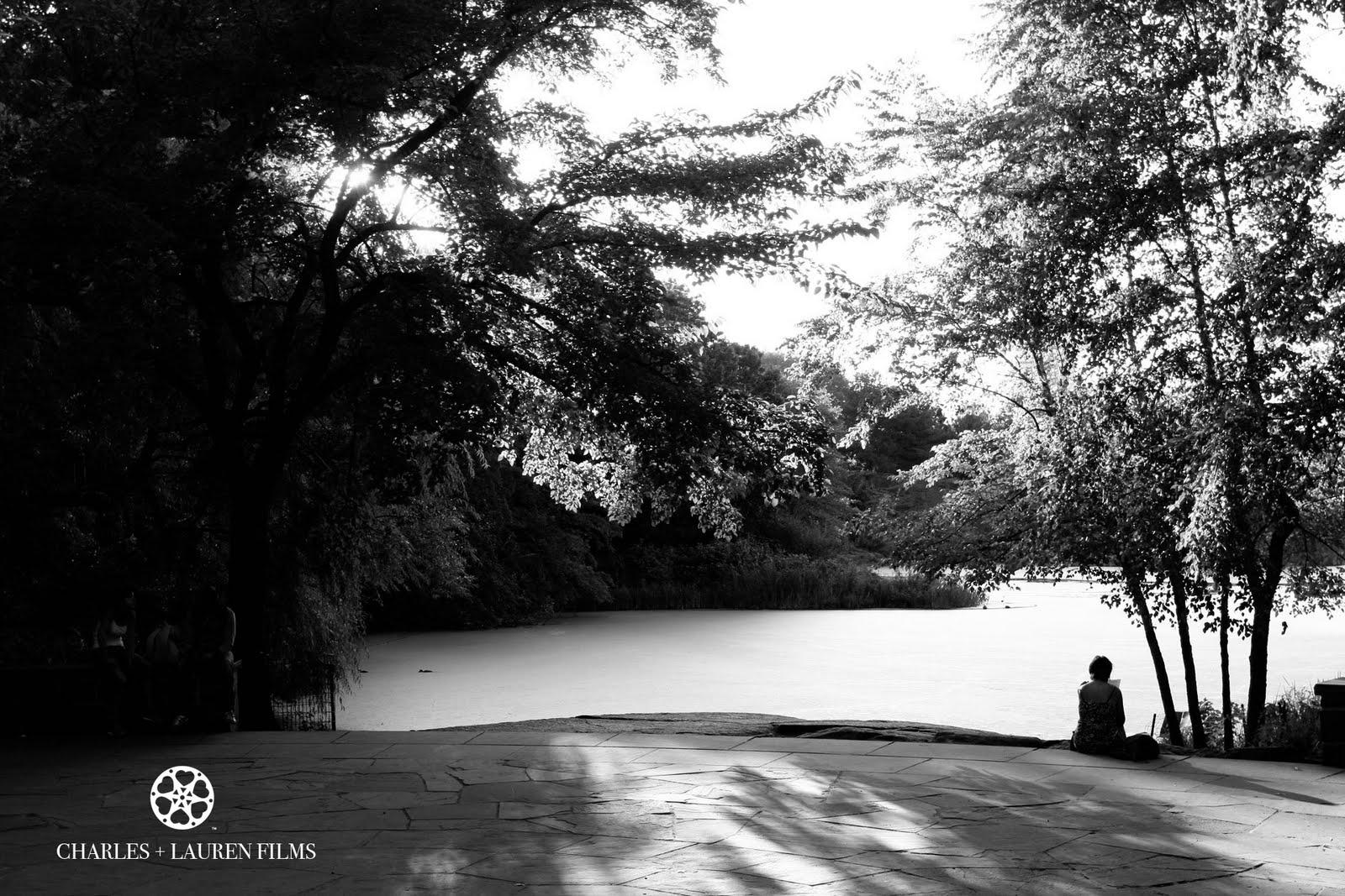 New York Central Park Black and White Reading