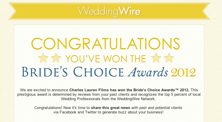 2012 Wedding WIre Bride's Choice Awards Charles Lauren Films wedding videography