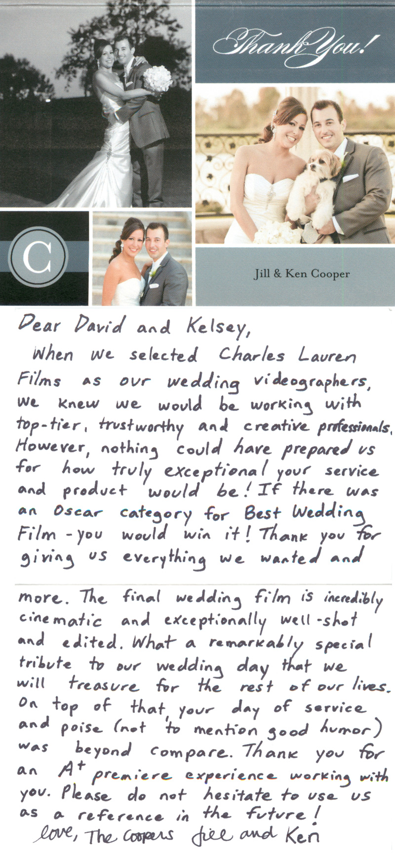 Thank you note review for a wedding film made at Old Ranch Country Club Seal Beach