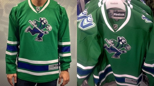 pretty nice 2c80e 0057c Canucks freak out Vancouver with green fashion jersey ...