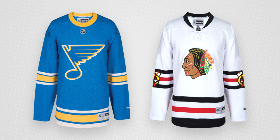 new product ab715 ad6a5 blues and blackhawks winter classic jerseys